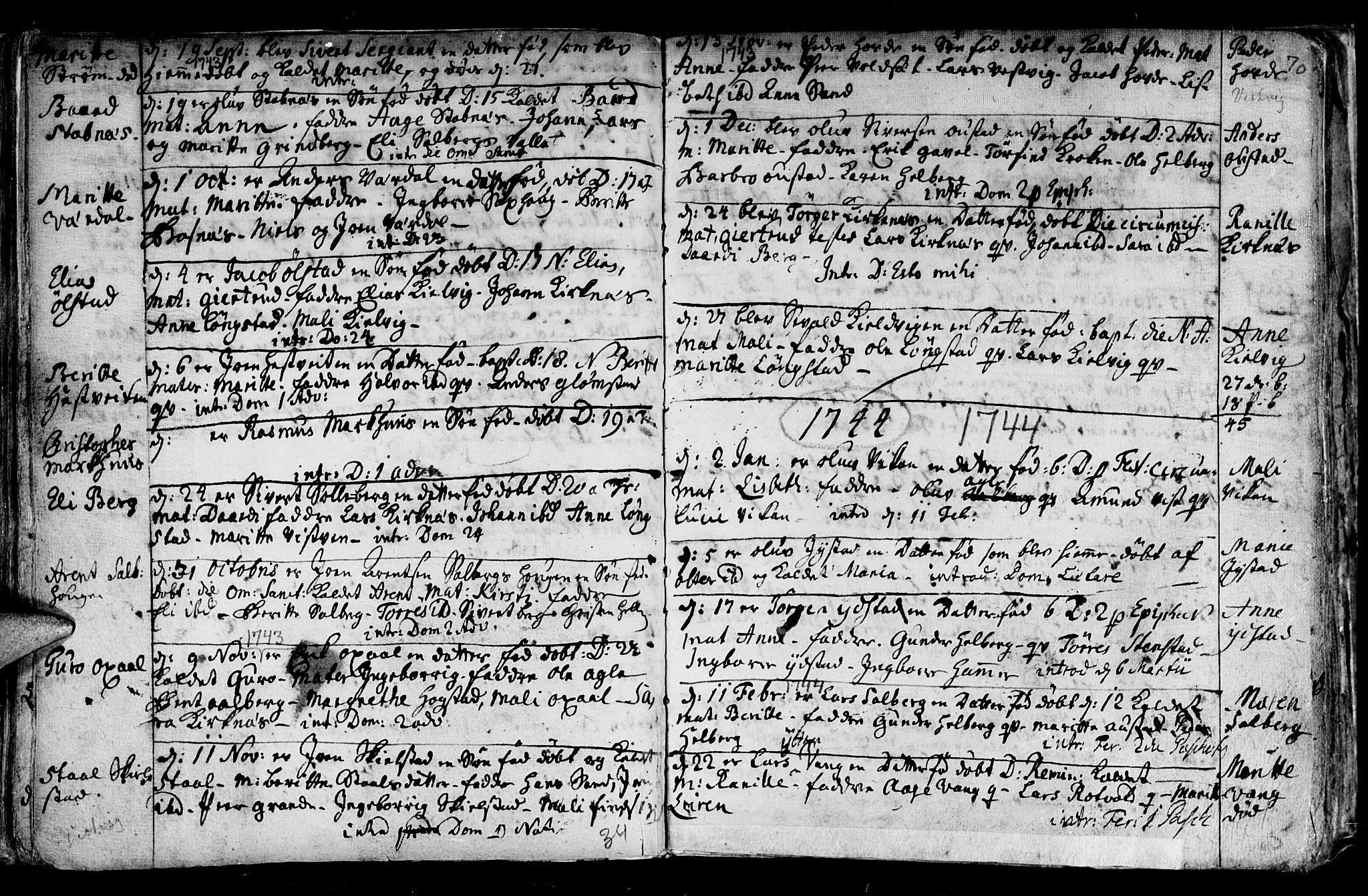 SAT, Ministerialprotokoller, klokkerbøker og fødselsregistre - Nord-Trøndelag, 730/L0272: Ministerialbok nr. 730A01, 1733-1764, s. 70