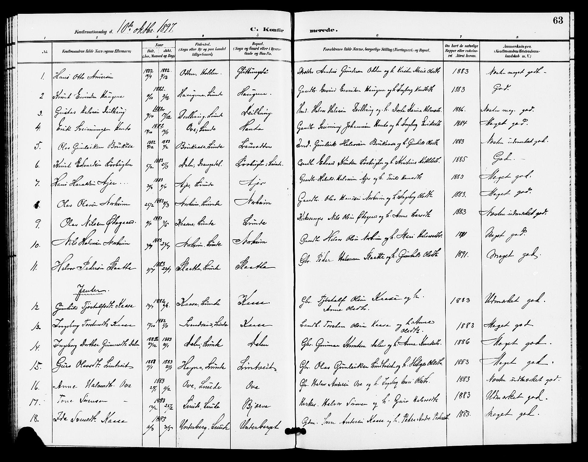 SAKO, Lunde kirkebøker, G/Ga/L0003: Klokkerbok nr. I 3, 1896-1905, s. 63