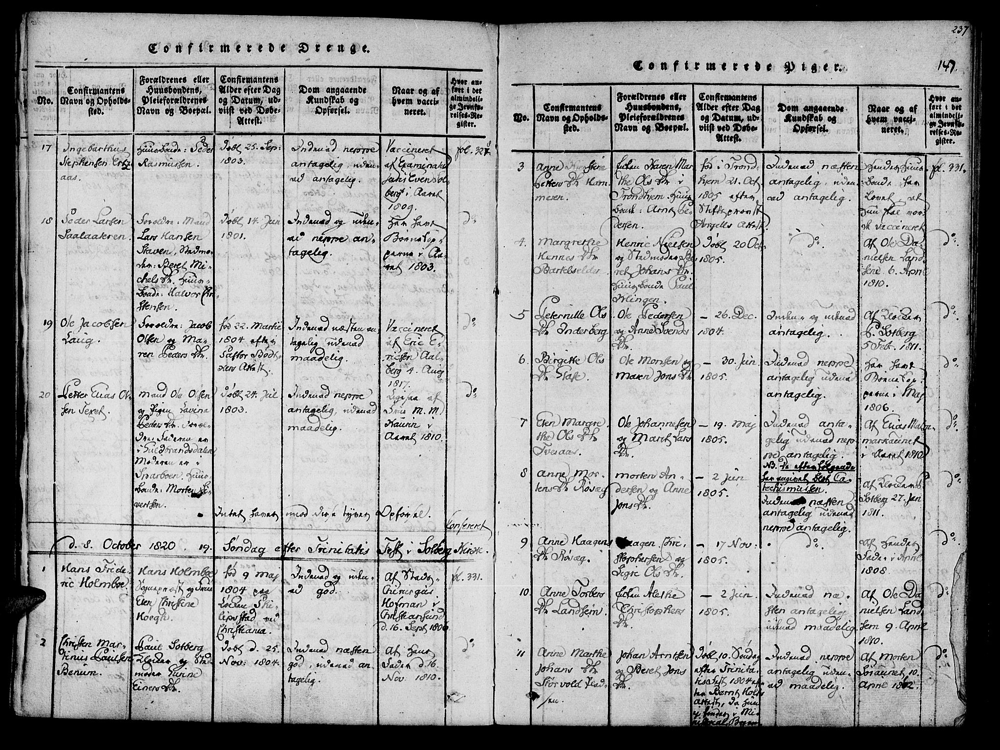 SAT, Ministerialprotokoller, klokkerbøker og fødselsregistre - Nord-Trøndelag, 741/L0387: Ministerialbok nr. 741A03 /1, 1817-1822, s. 147