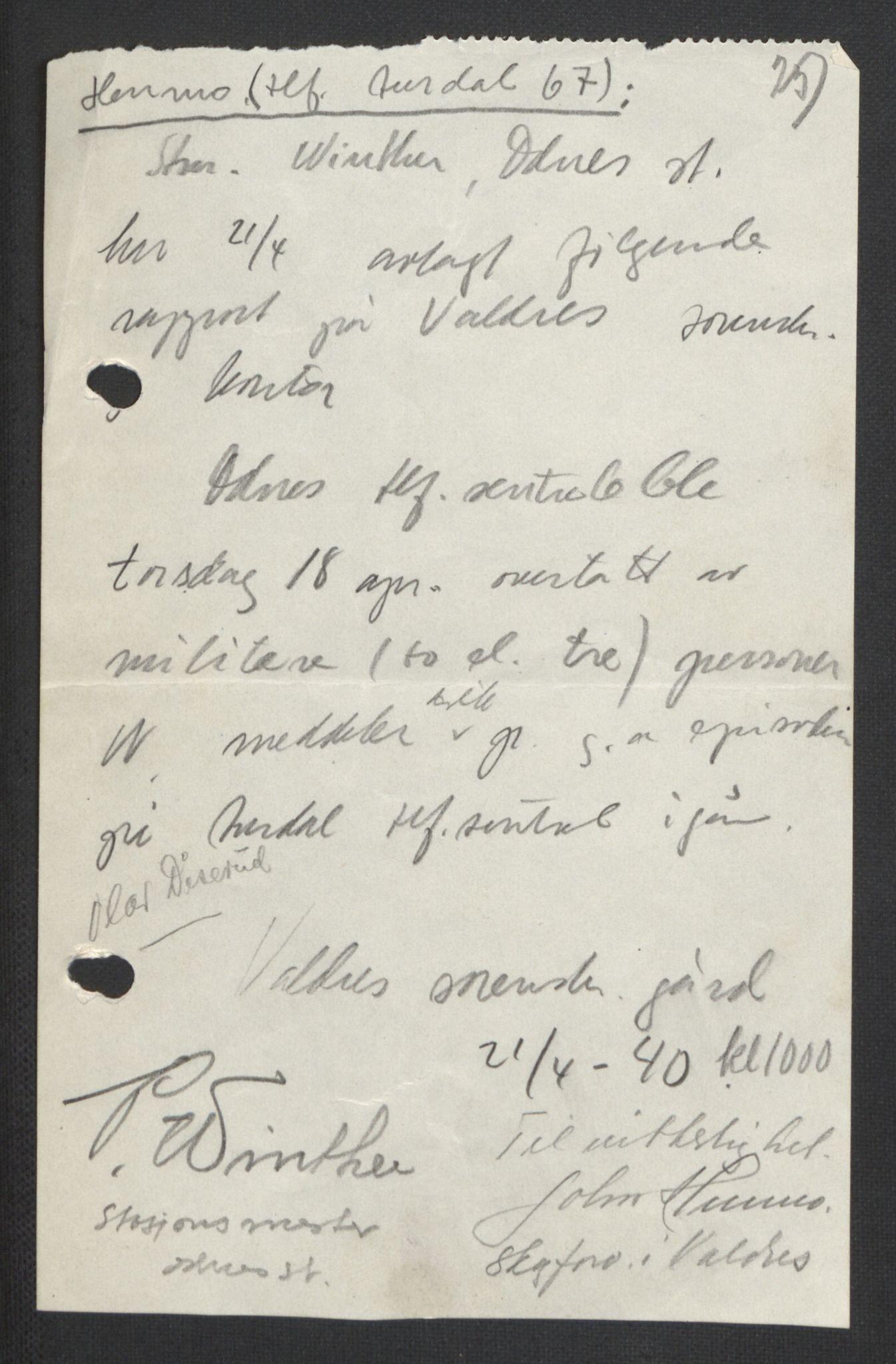 RA, Forsvaret, Forsvarets krigshistoriske avdeling, Y/Yb/L0104: II-C-11-430  -  4. Divisjon., 1940, s. 282