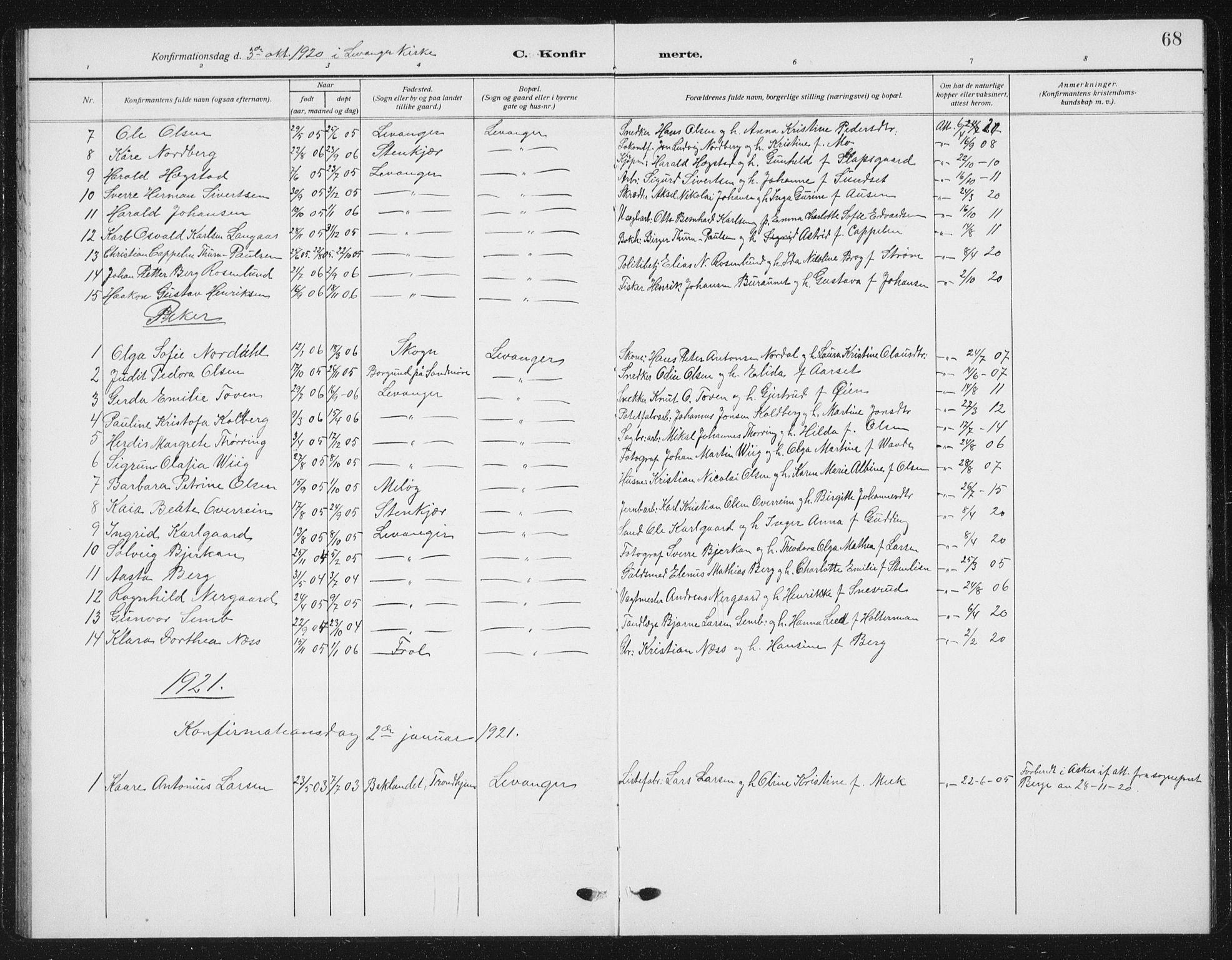 SAT, Ministerialprotokoller, klokkerbøker og fødselsregistre - Nord-Trøndelag, 720/L0193: Klokkerbok nr. 720C02, 1918-1941, s. 68