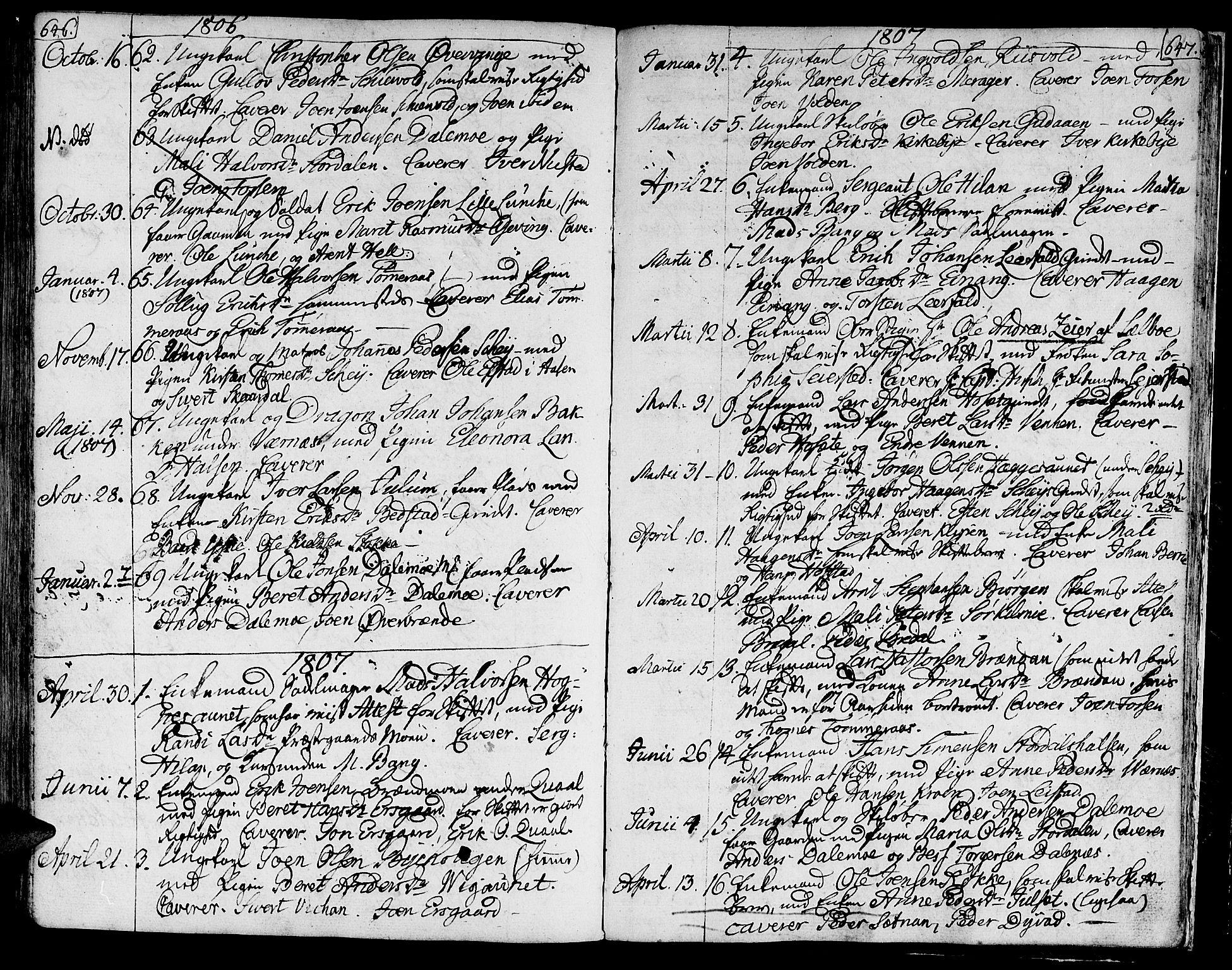 SAT, Ministerialprotokoller, klokkerbøker og fødselsregistre - Nord-Trøndelag, 709/L0060: Ministerialbok nr. 709A07, 1797-1815, s. 646-647