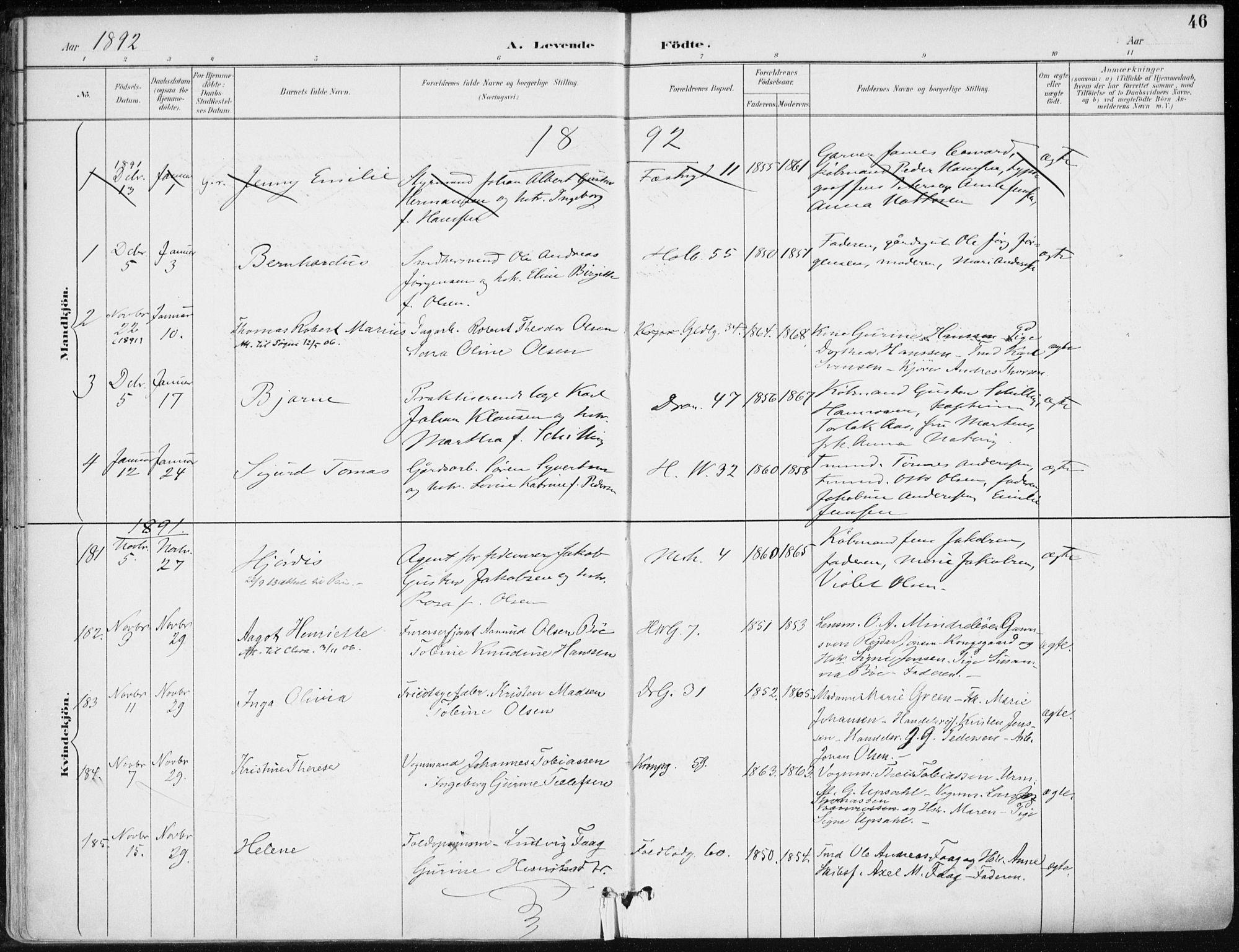 SAK, Kristiansand domprosti, F/Fa/L0019: Ministerialbok nr. A 18, 1890-1897, s. 46