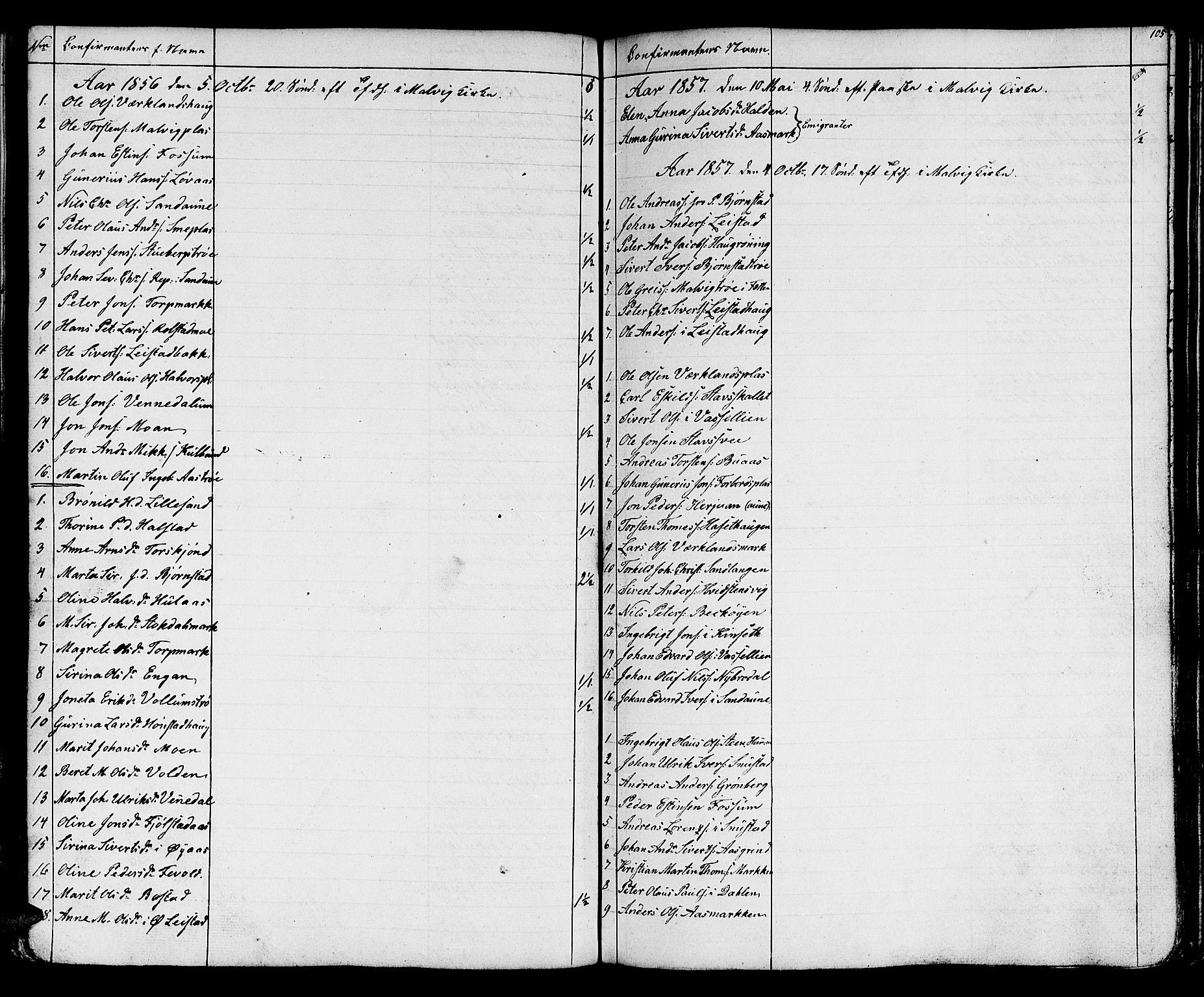SAT, Ministerialprotokoller, klokkerbøker og fødselsregistre - Sør-Trøndelag, 616/L0422: Klokkerbok nr. 616C05, 1850-1888, s. 105