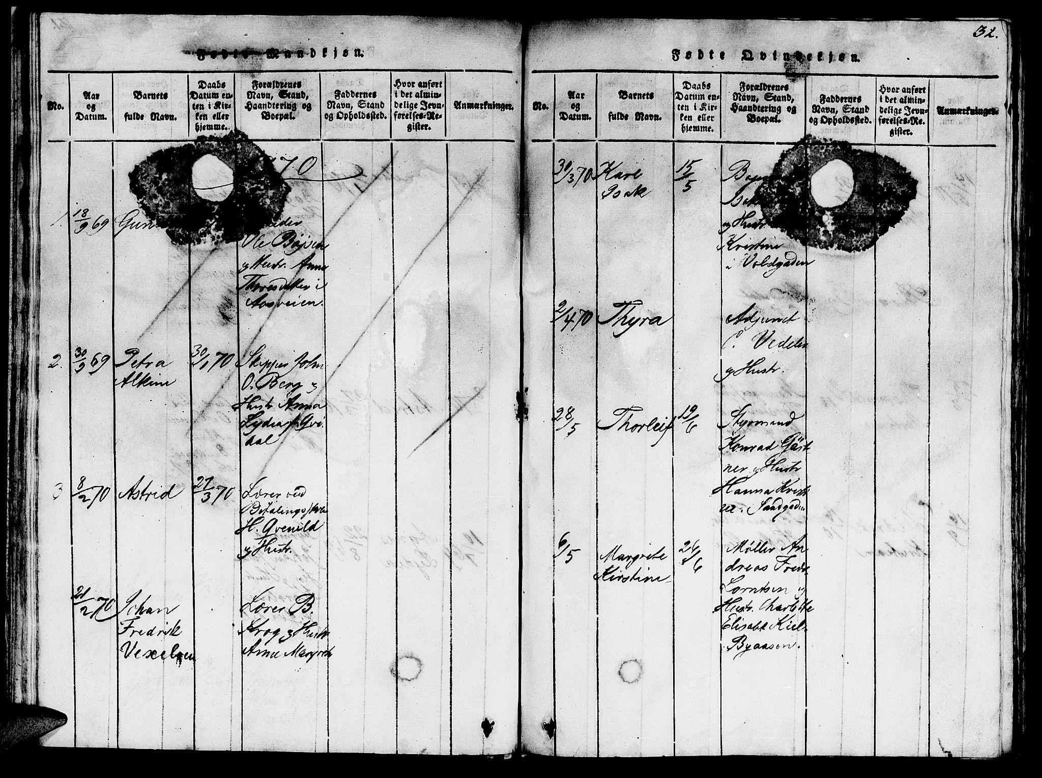 SAT, Ministerialprotokoller, klokkerbøker og fødselsregistre - Sør-Trøndelag, 623/L0478: Klokkerbok nr. 623C01, 1815-1873, s. 32