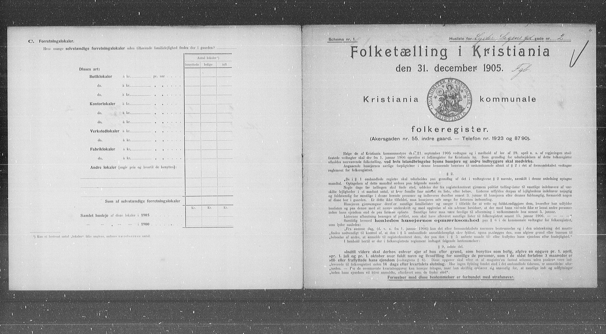 OBA, Kommunal folketelling 1905 for Kristiania kjøpstad, 1905, s. 30725