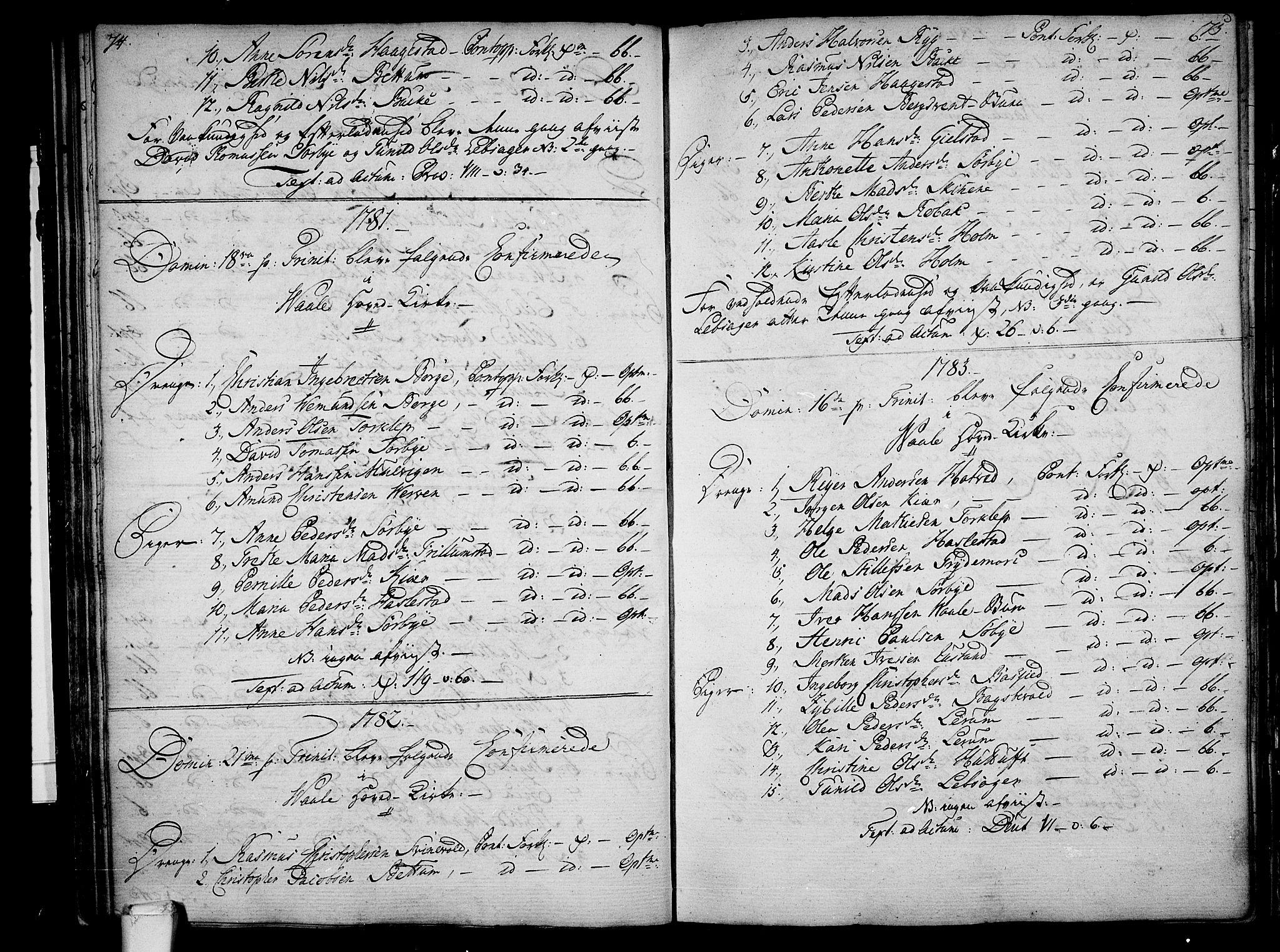 SAKO, Våle kirkebøker, F/Fa/L0005: Ministerialbok nr. I 5, 1773-1808, s. 74-75