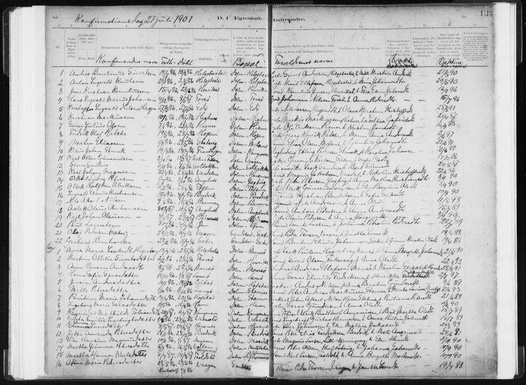 SAT, Ministerialprotokoller, klokkerbøker og fødselsregistre - Sør-Trøndelag, 634/L0533: Ministerialbok nr. 634A09, 1882-1901, s. 137