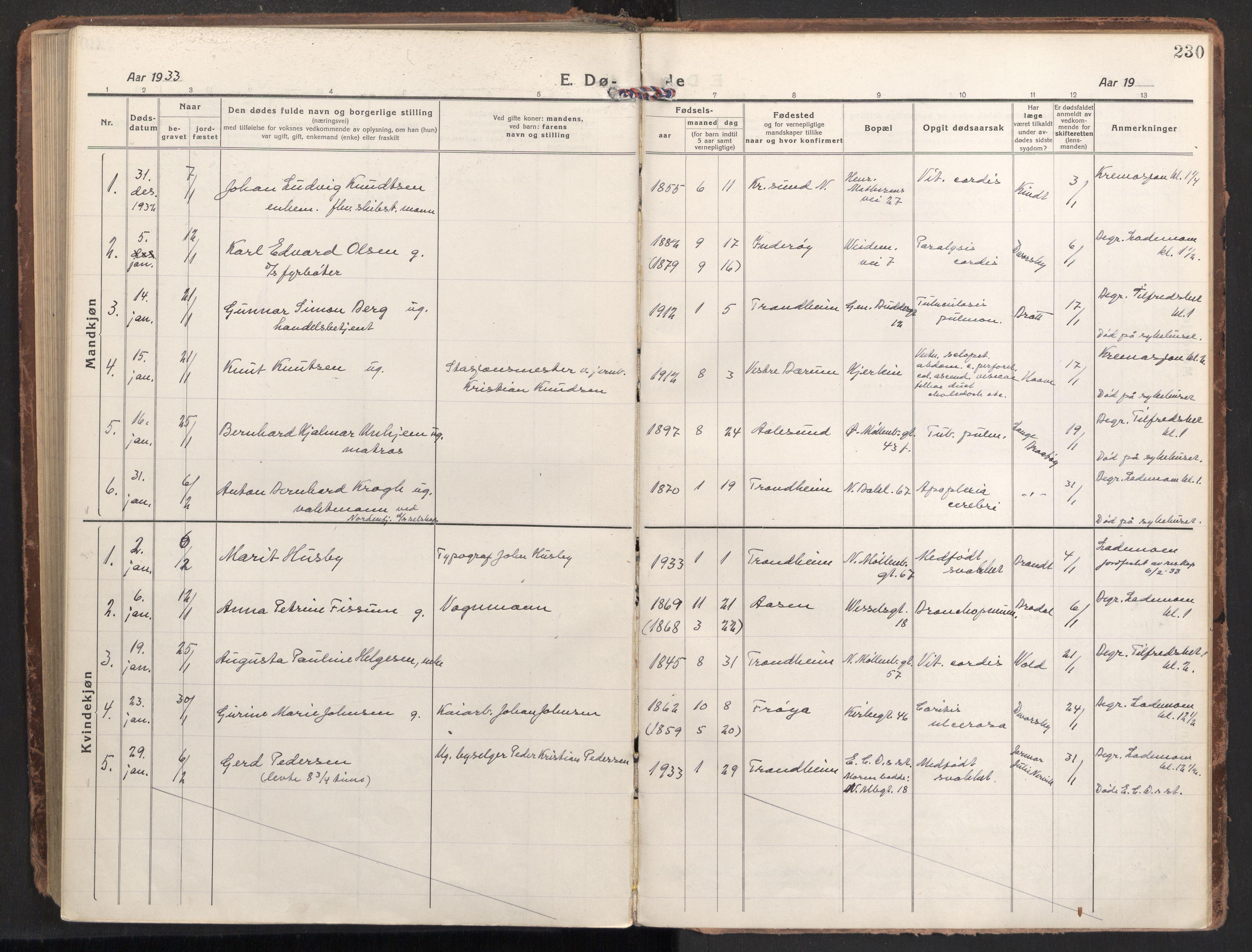 SAT, Ministerialprotokoller, klokkerbøker og fødselsregistre - Sør-Trøndelag, 604/L0207: Ministerialbok nr. 604A27, 1917-1933, s. 230