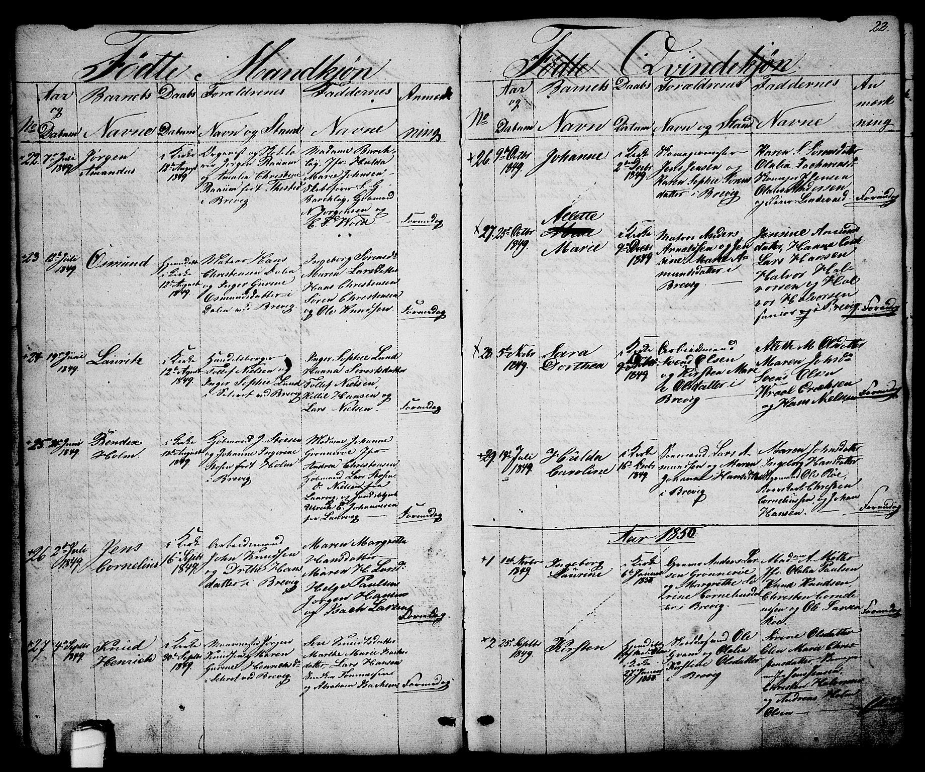 SAKO, Brevik kirkebøker, G/Ga/L0002: Klokkerbok nr. 2, 1846-1865, s. 22
