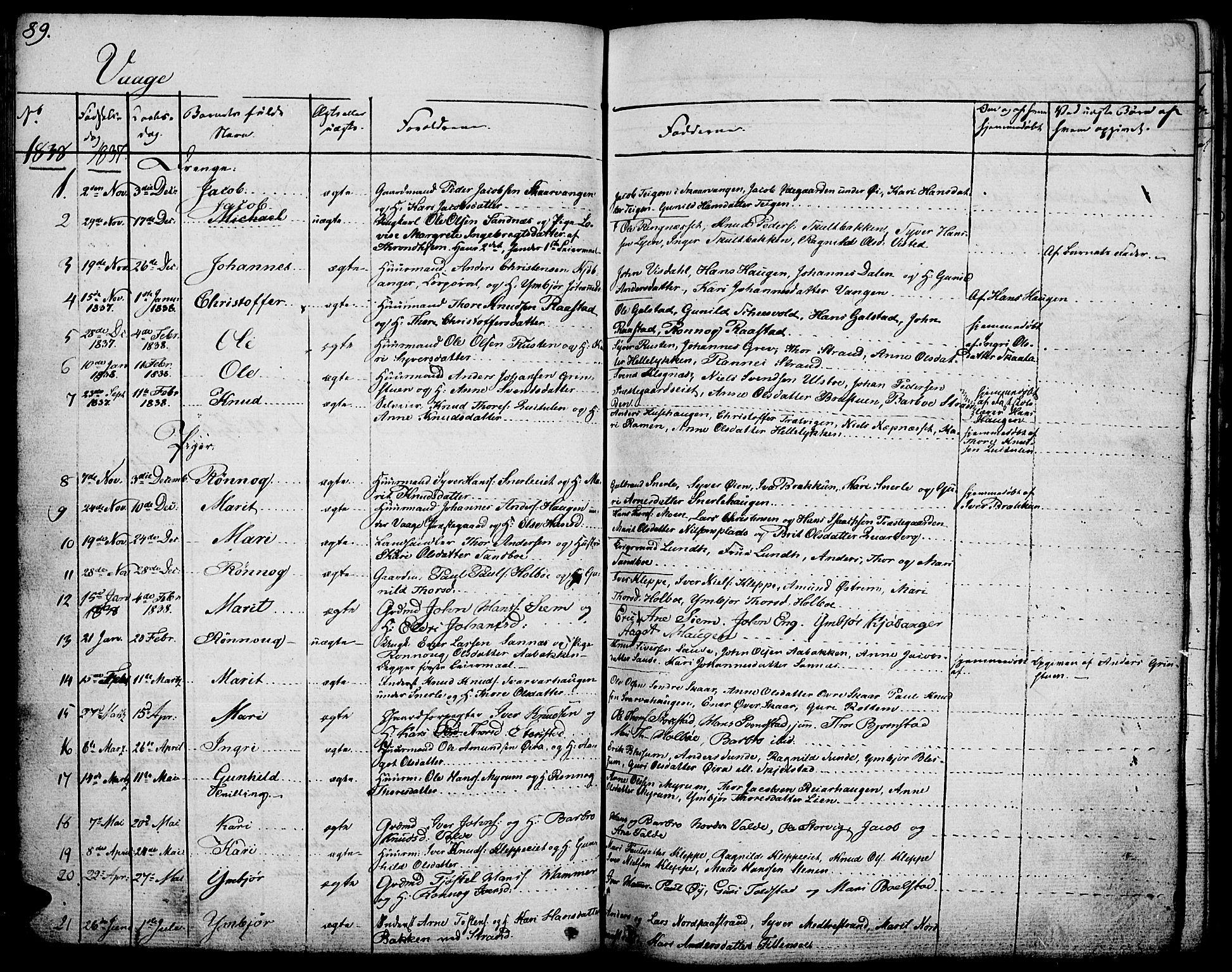 SAH, Vågå prestekontor, Ministerialbok nr. 4 /1, 1827-1842, s. 89