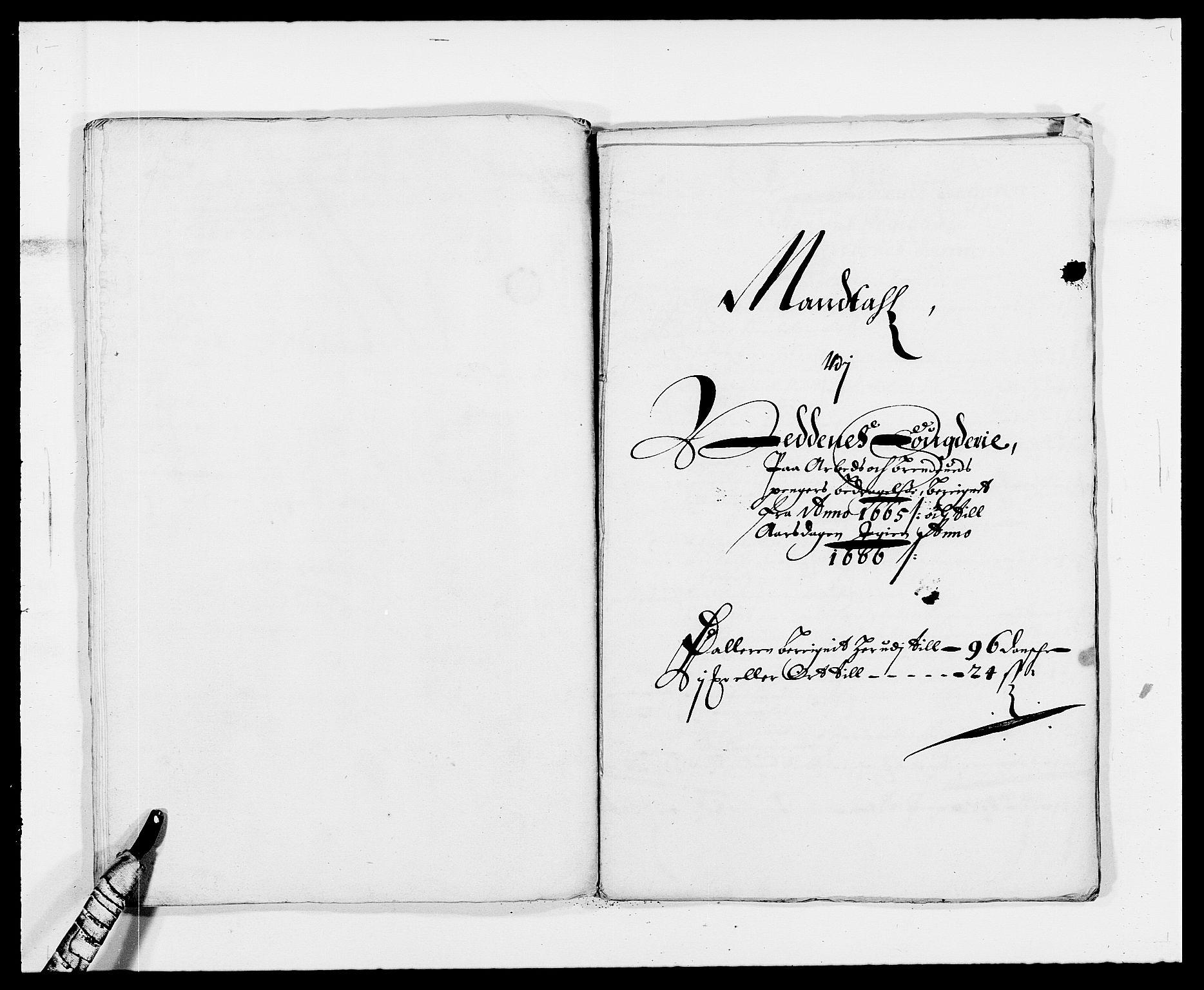 RA, Rentekammeret inntil 1814, Reviderte regnskaper, Fogderegnskap, R39/L2296: Fogderegnskap Nedenes, 1664-1666, s. 360