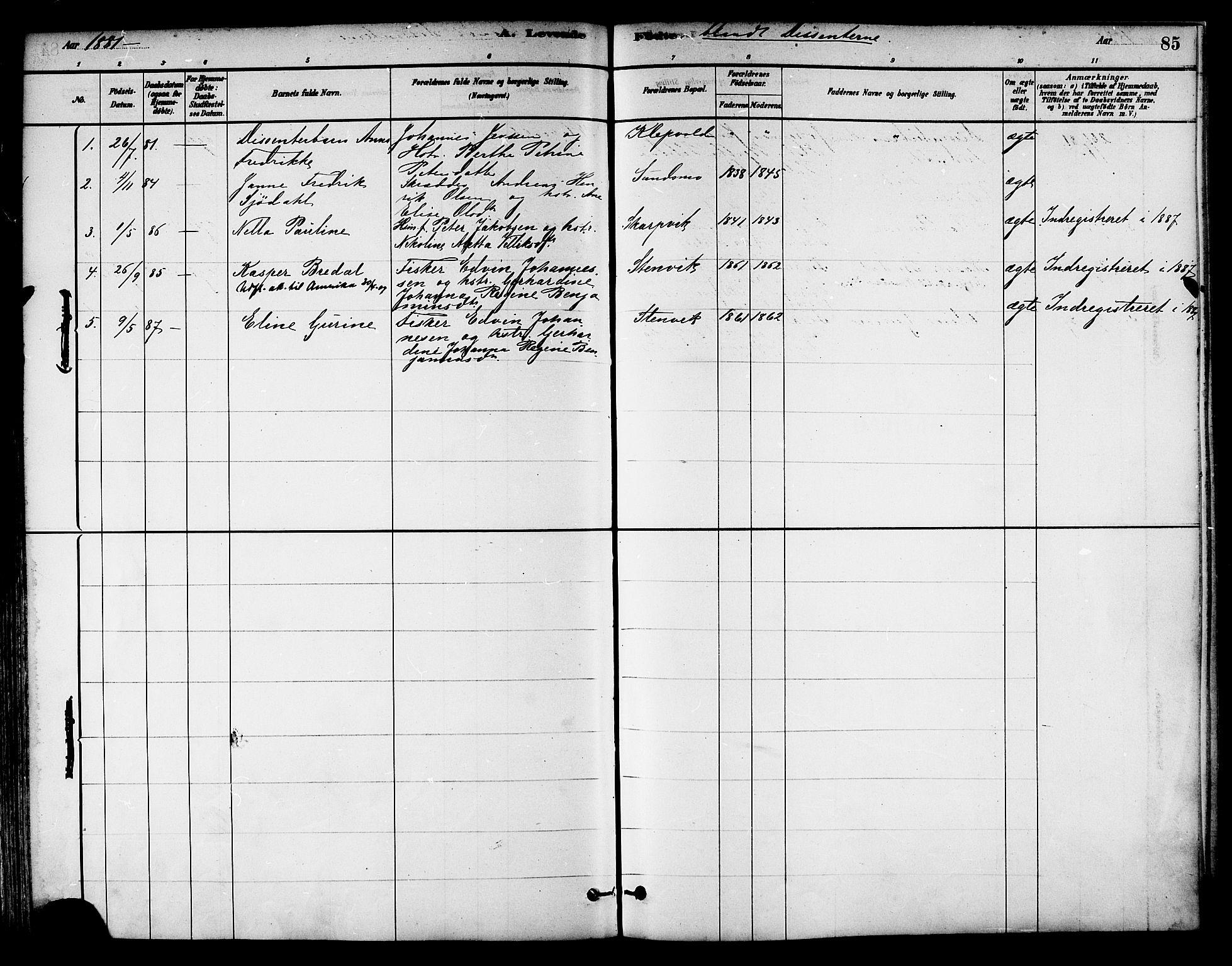 SAT, Ministerialprotokoller, klokkerbøker og fødselsregistre - Nord-Trøndelag, 786/L0686: Ministerialbok nr. 786A02, 1880-1887, s. 85