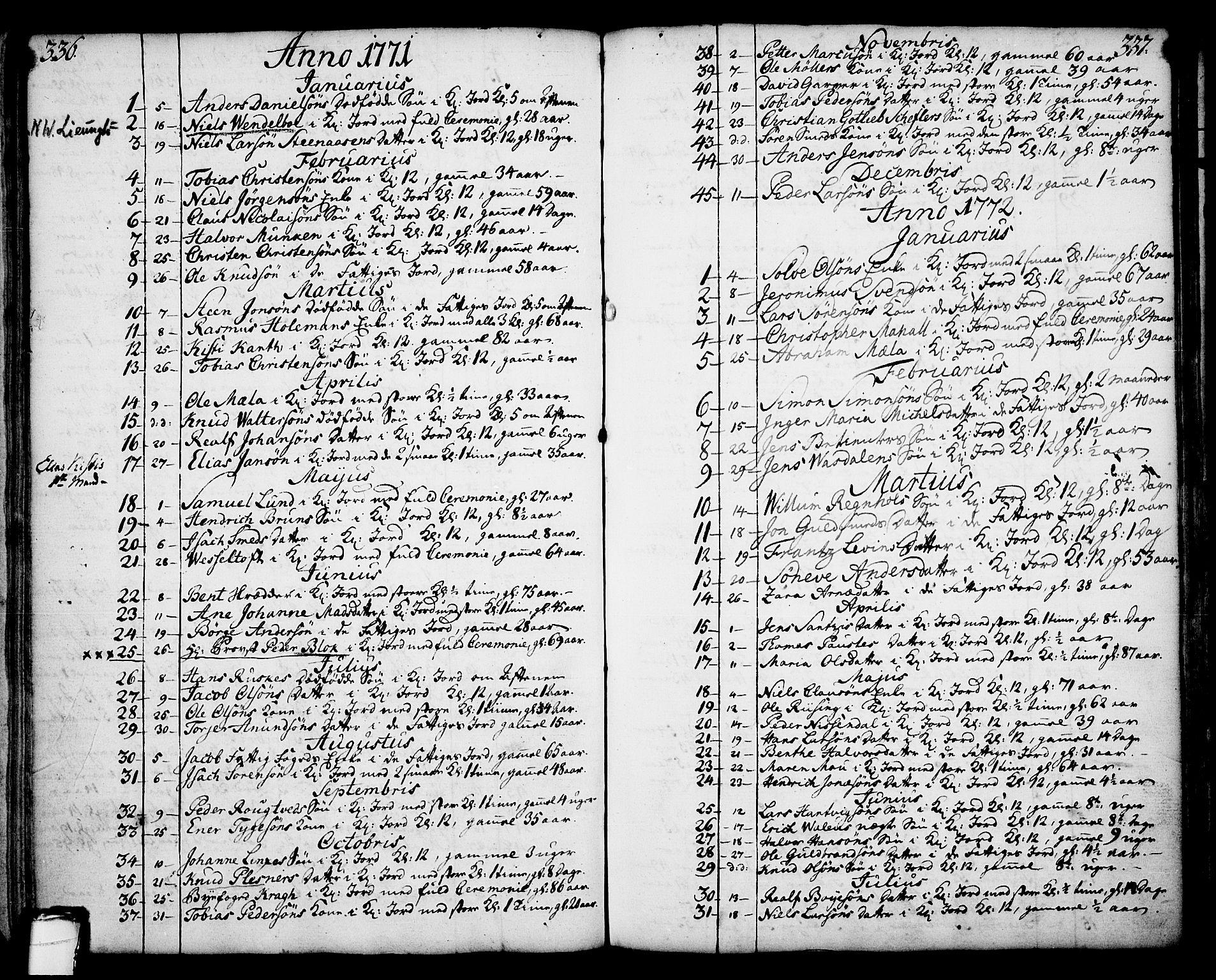 SAKO, Skien kirkebøker, F/Fa/L0003: Ministerialbok nr. 3, 1755-1791, s. 336-337