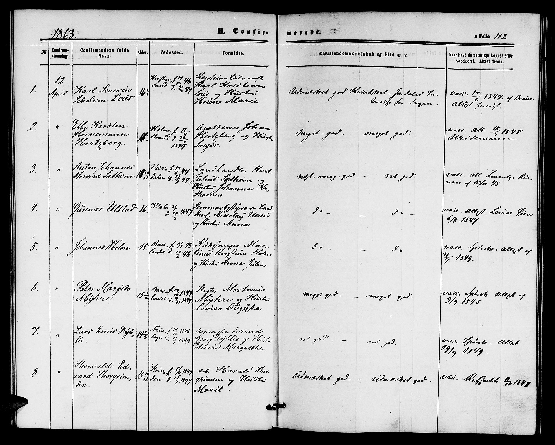 SAT, Ministerialprotokoller, klokkerbøker og fødselsregistre - Sør-Trøndelag, 604/L0185: Ministerialbok nr. 604A06, 1861-1865, s. 112