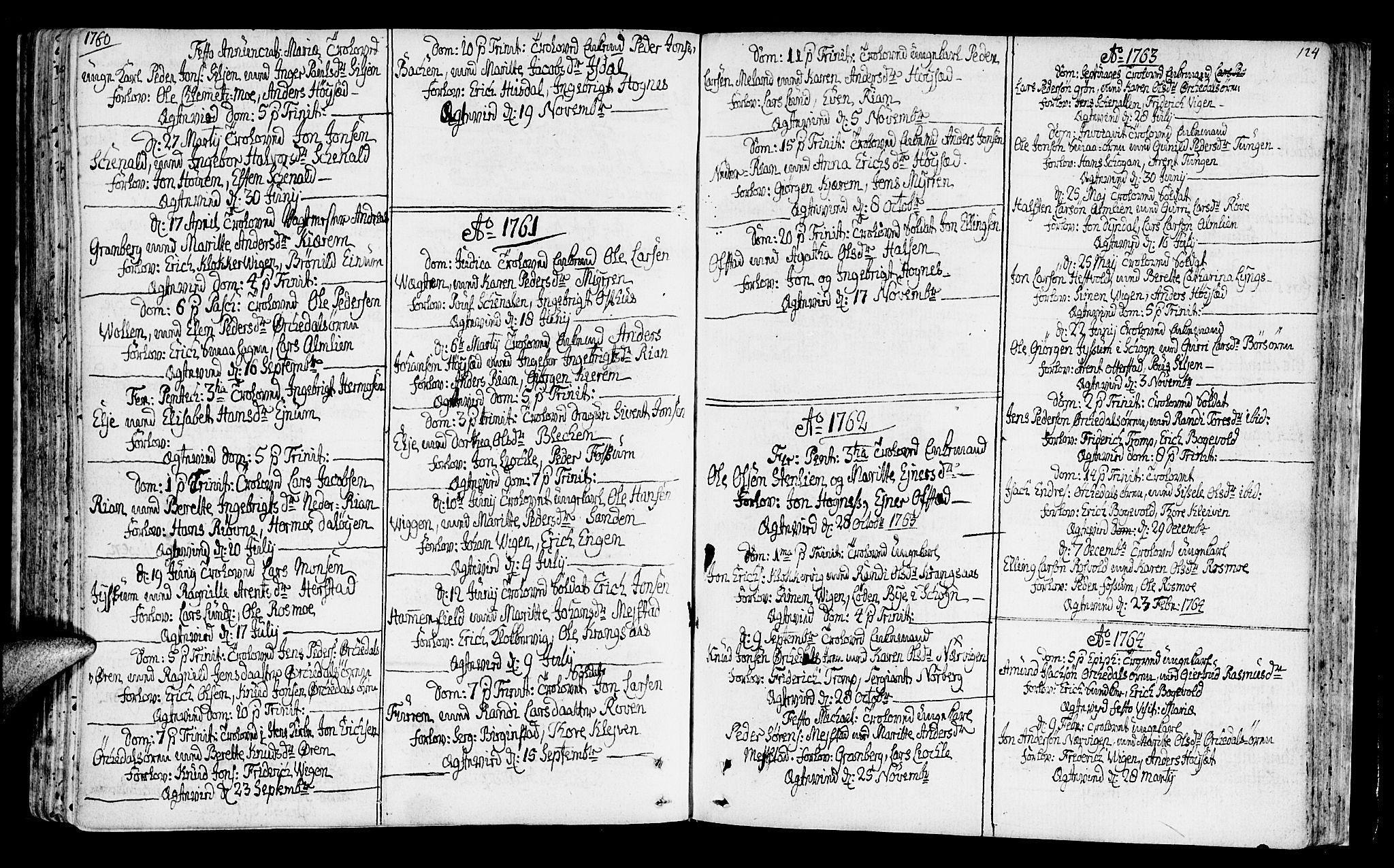 SAT, Ministerialprotokoller, klokkerbøker og fødselsregistre - Sør-Trøndelag, 665/L0768: Ministerialbok nr. 665A03, 1754-1803, s. 124