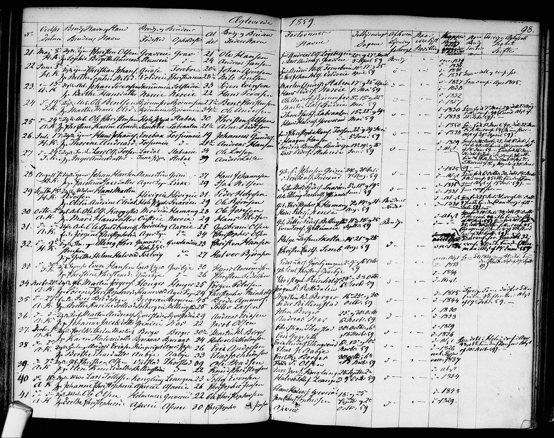 SAO, Asker prestekontor Kirkebøker, F/Fa/L0010: Ministerialbok nr. I 10, 1825-1878, s. 98