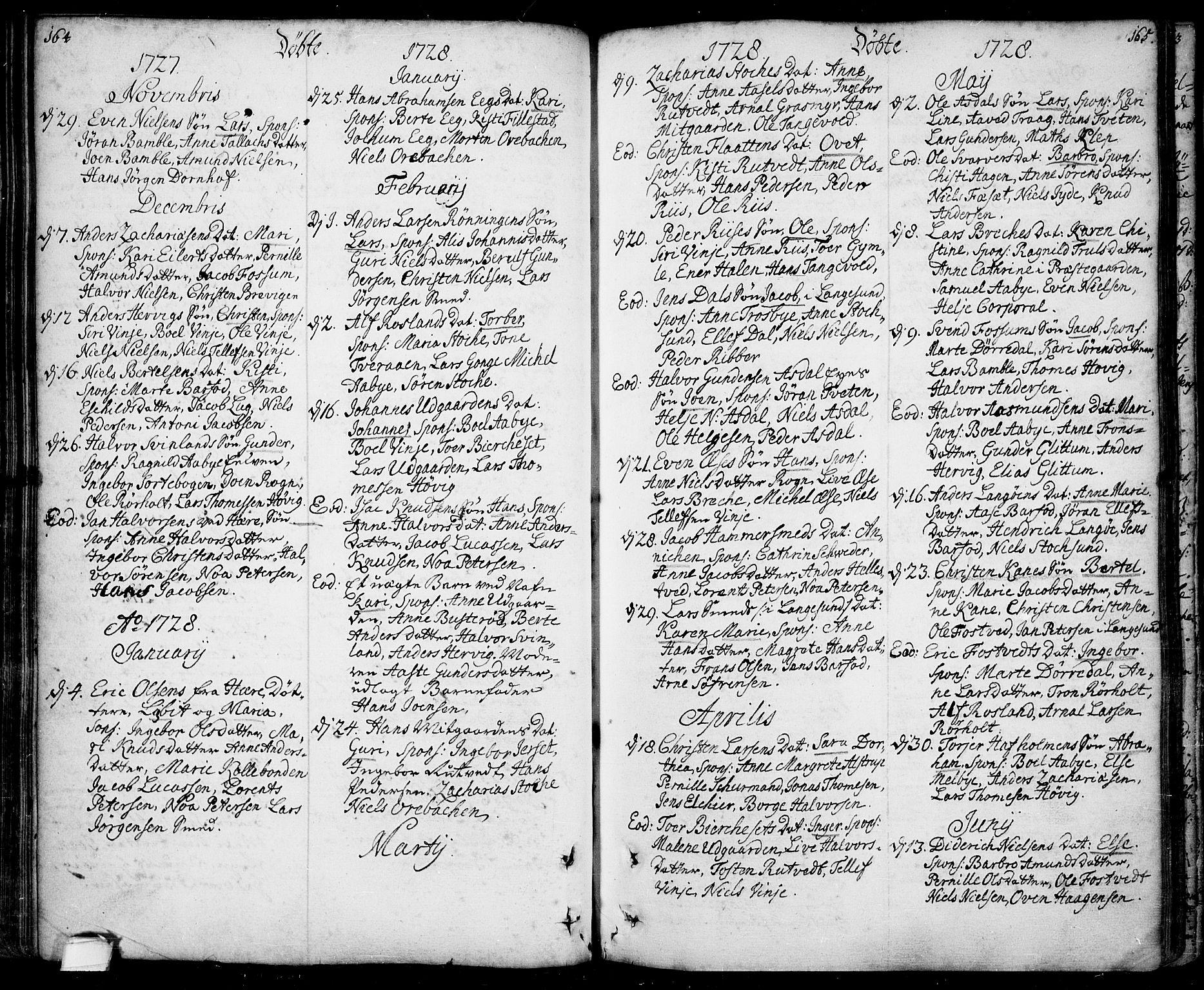SAKO, Bamble kirkebøker, F/Fa/L0001: Ministerialbok nr. I 1, 1702-1774, s. 164-165