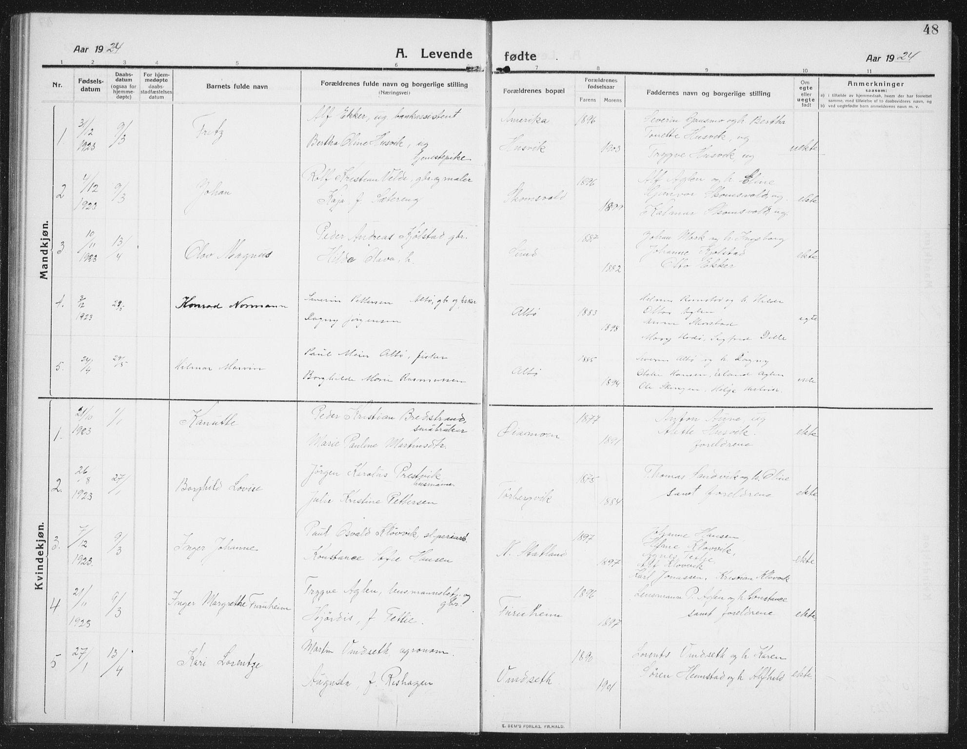 SAT, Ministerialprotokoller, klokkerbøker og fødselsregistre - Nord-Trøndelag, 774/L0630: Klokkerbok nr. 774C01, 1910-1934, s. 48