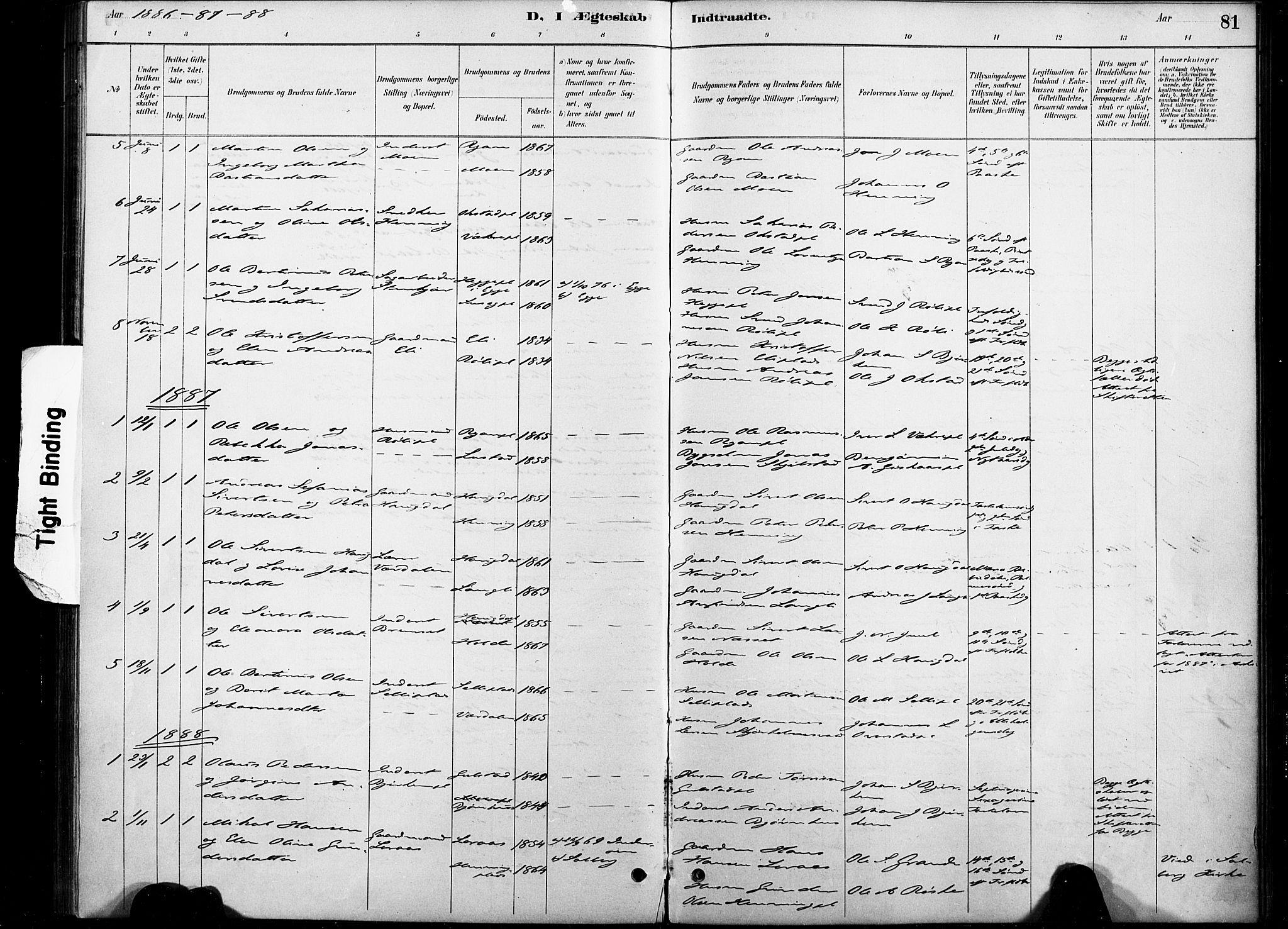 SAT, Ministerialprotokoller, klokkerbøker og fødselsregistre - Nord-Trøndelag, 738/L0364: Ministerialbok nr. 738A01, 1884-1902, s. 81