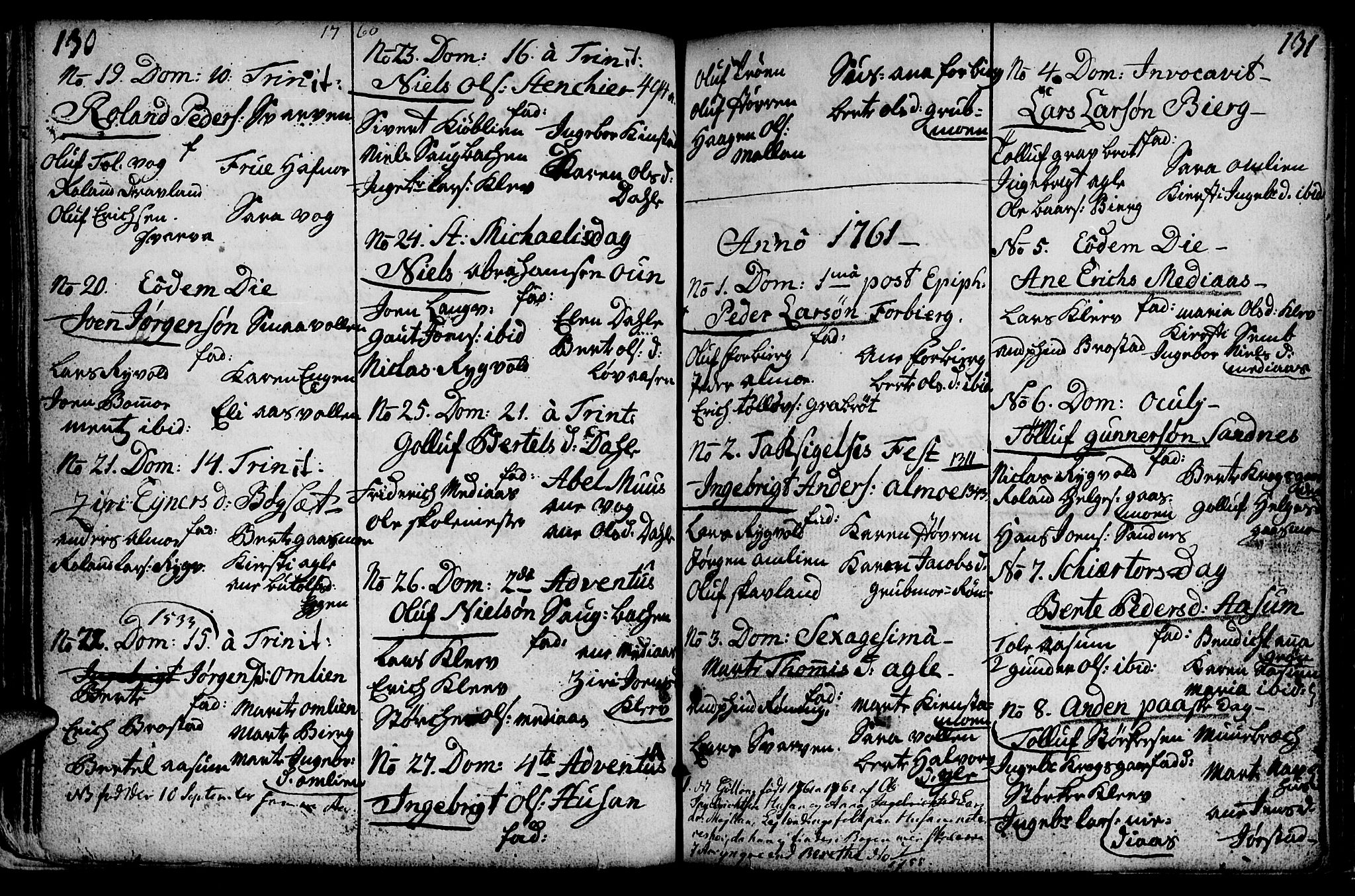 SAT, Ministerialprotokoller, klokkerbøker og fødselsregistre - Nord-Trøndelag, 749/L0467: Ministerialbok nr. 749A01, 1733-1787, s. 130-131