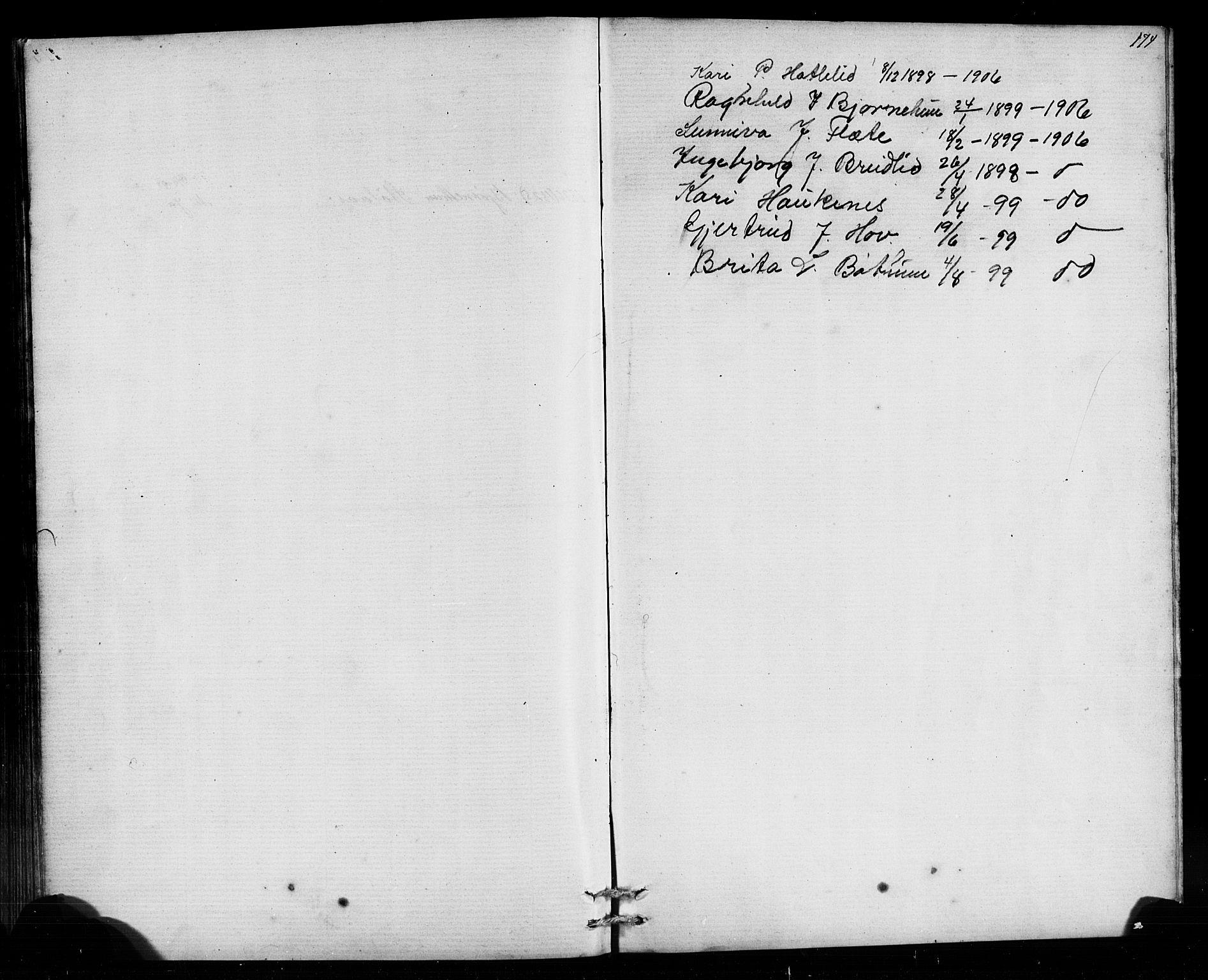 SAB, Leikanger Sokneprestembete, Klokkerbok nr. B 1, 1873-1908, s. 174