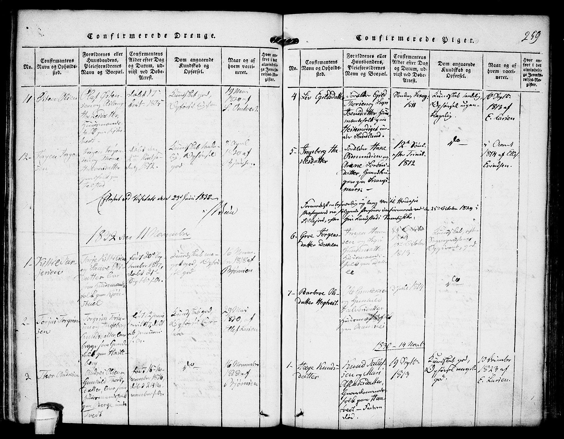SAKO, Kviteseid kirkebøker, F/Fb/L0001: Ministerialbok nr. II 1, 1815-1836, s. 259