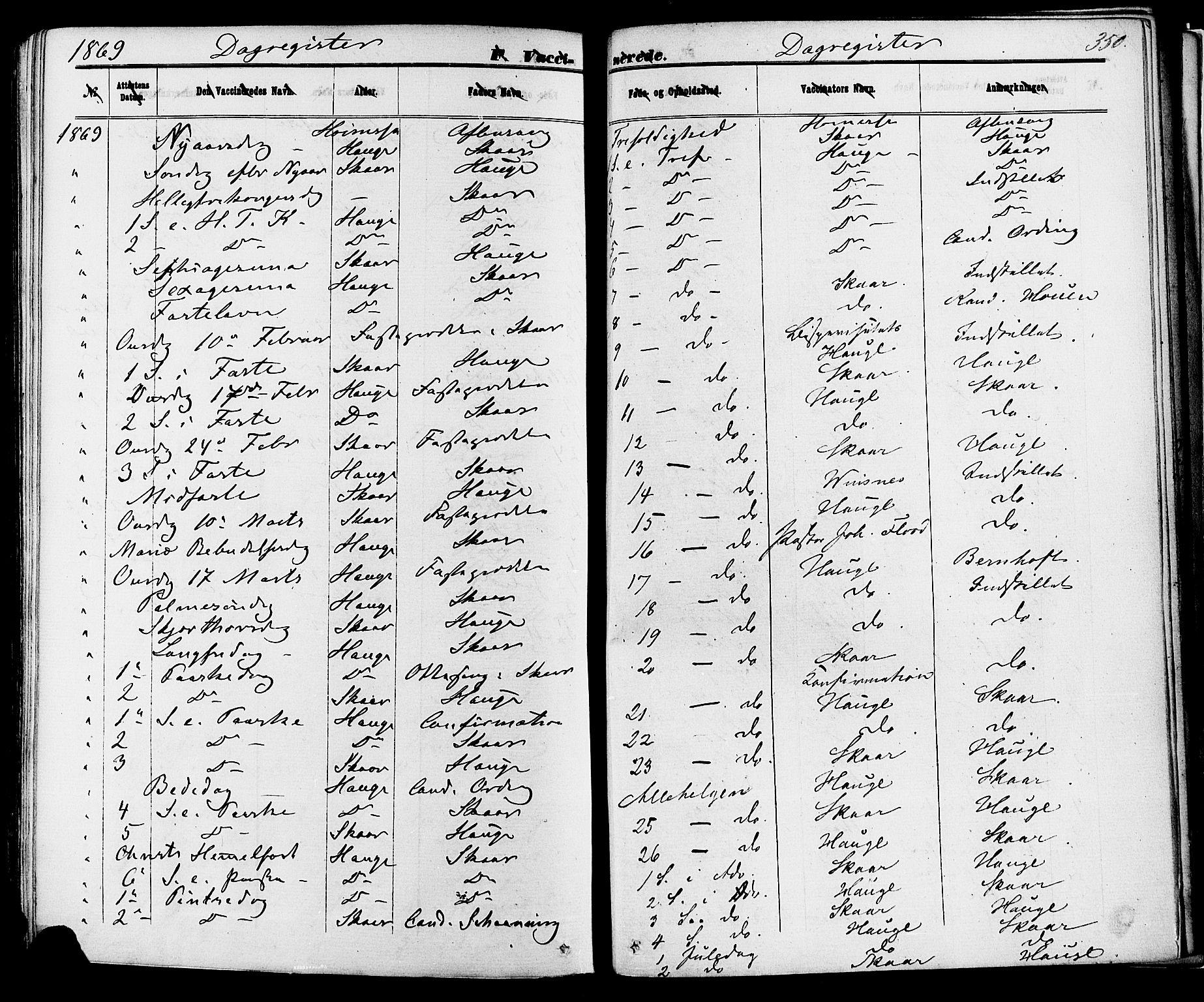 SAKO, Skien kirkebøker, F/Fa/L0008: Ministerialbok nr. 8, 1866-1877, s. 350
