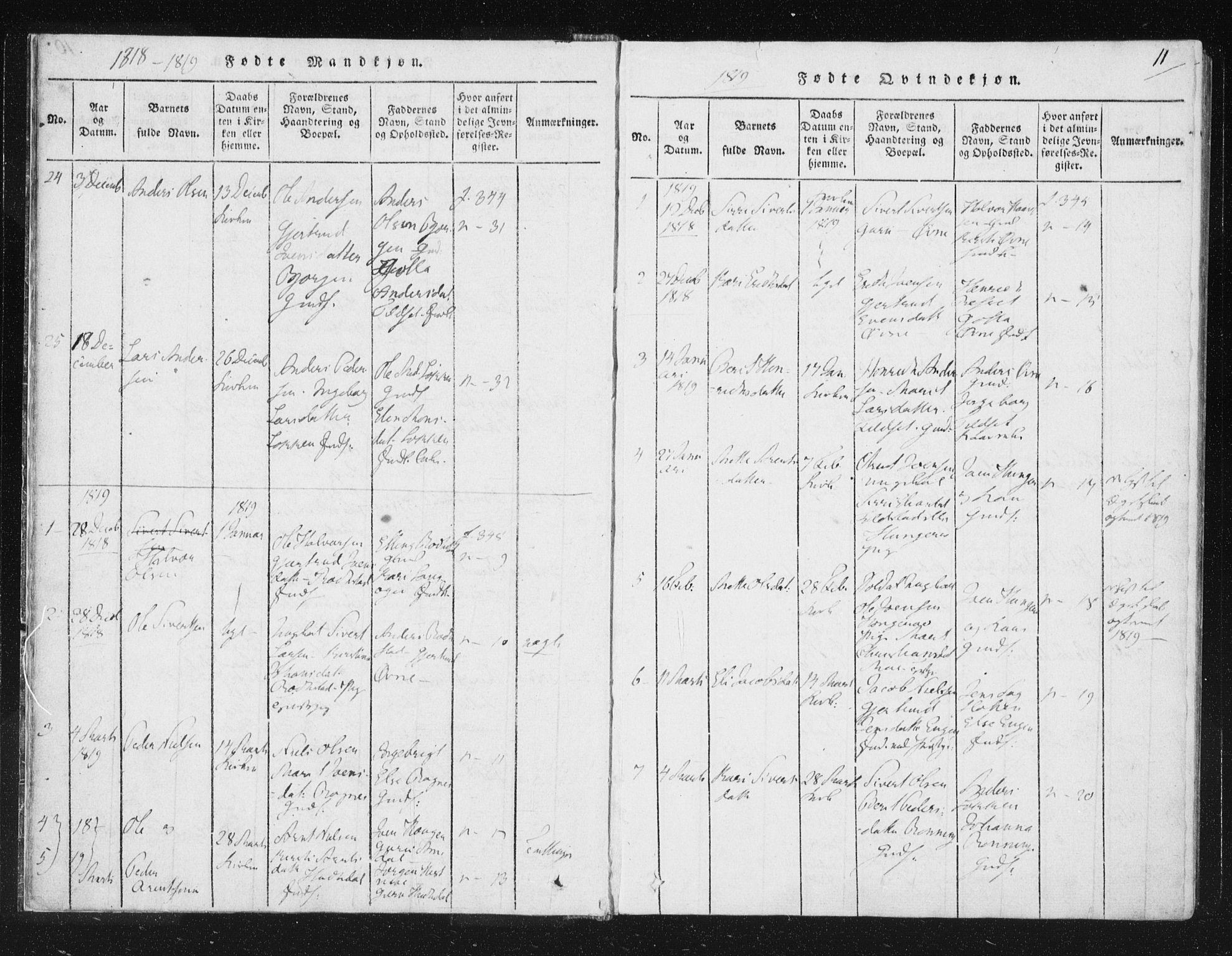 SAT, Ministerialprotokoller, klokkerbøker og fødselsregistre - Sør-Trøndelag, 687/L0996: Ministerialbok nr. 687A04, 1816-1842, s. 11