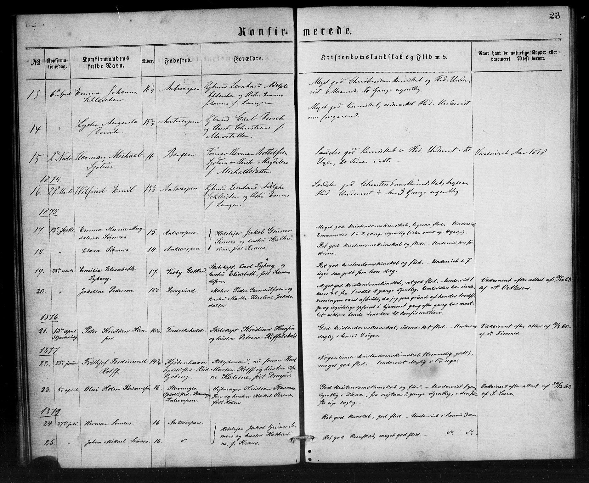 SAB, Den Norske Sjømannsmisjon i utlandet*, Ministerialbok nr. A 1, 1865-1887, s. 23