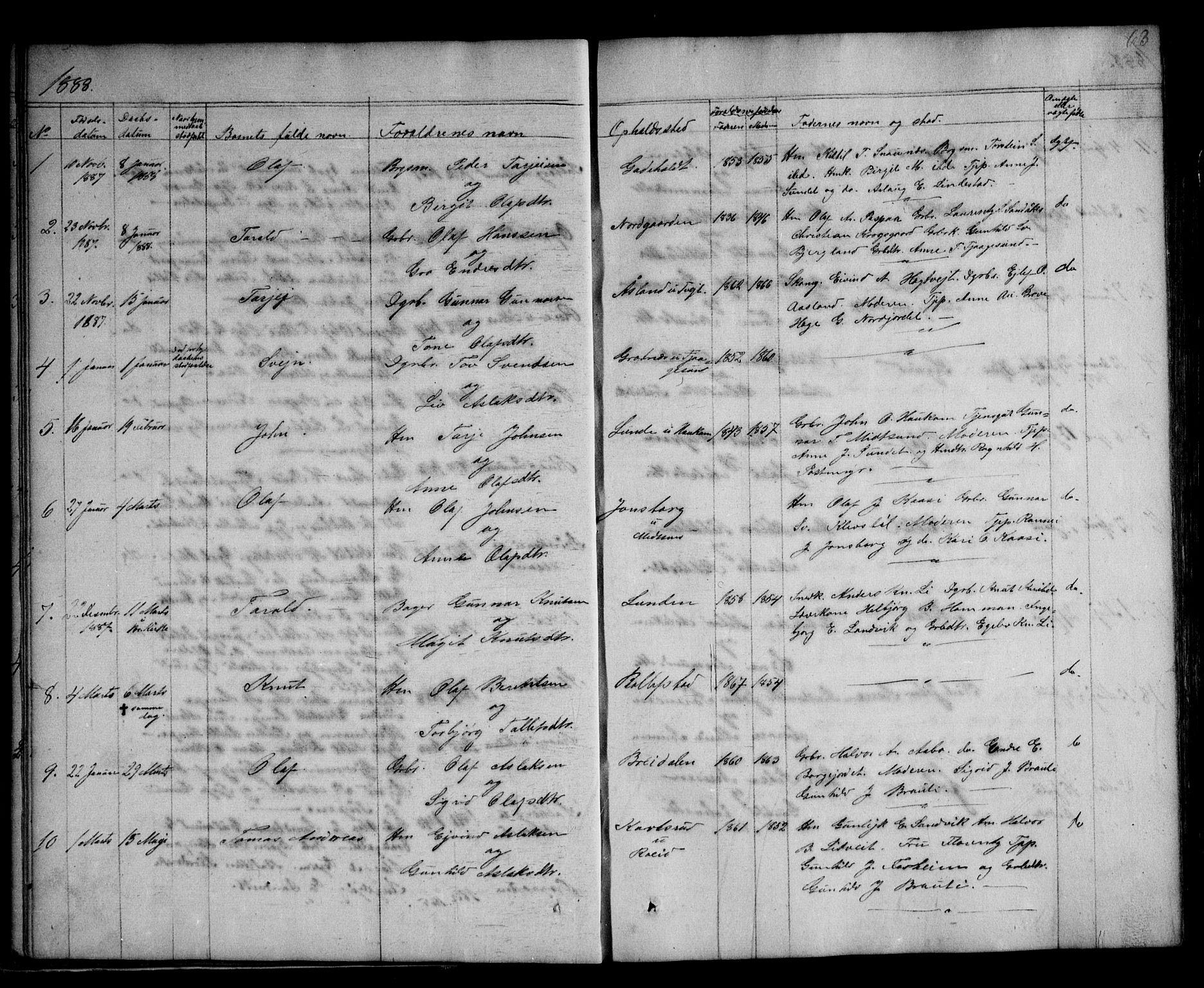 SAKO, Kviteseid kirkebøker, G/Ga/L0001: Klokkerbok nr. I 1, 1850-1893, s. 63