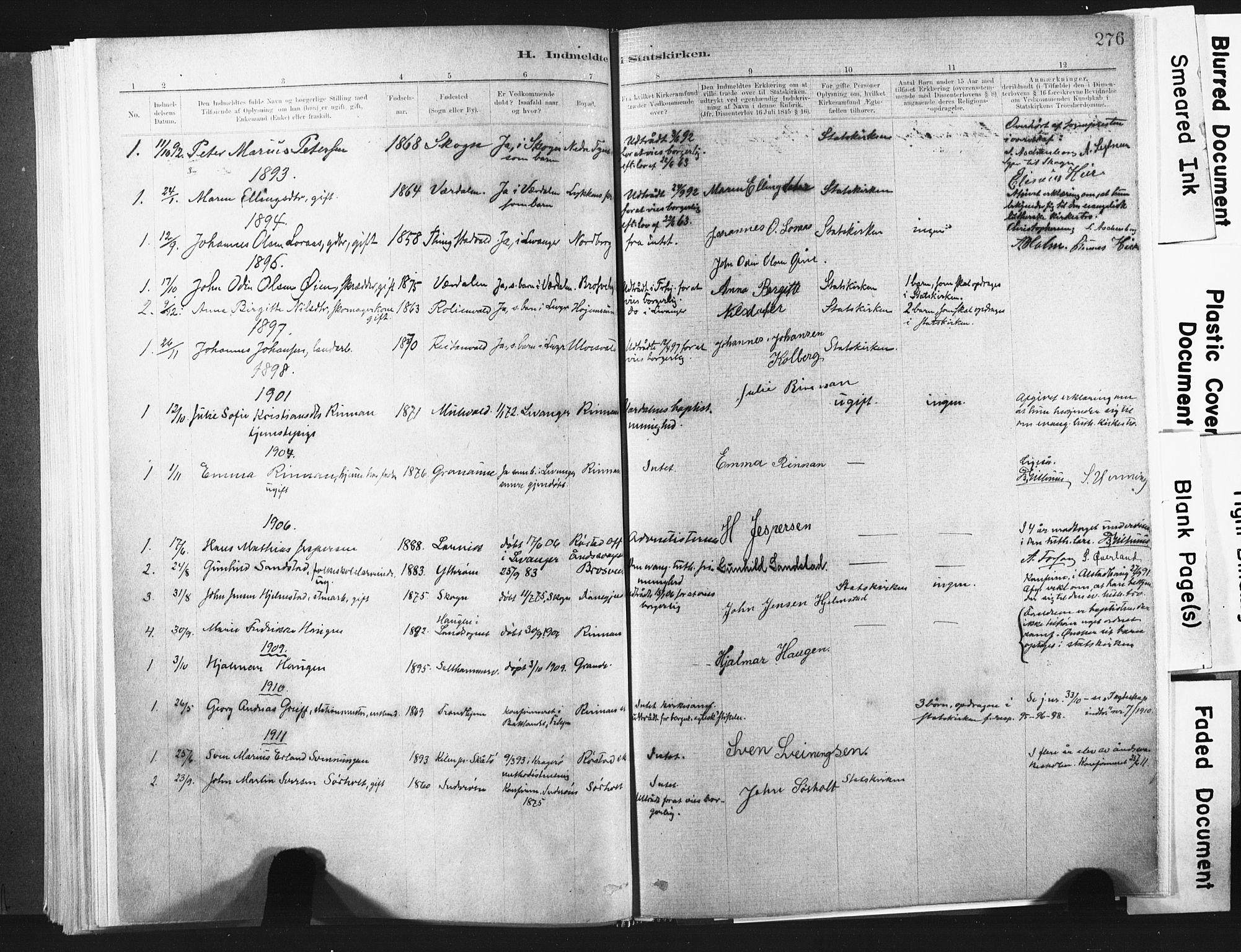 SAT, Ministerialprotokoller, klokkerbøker og fødselsregistre - Nord-Trøndelag, 721/L0207: Ministerialbok nr. 721A02, 1880-1911, s. 276