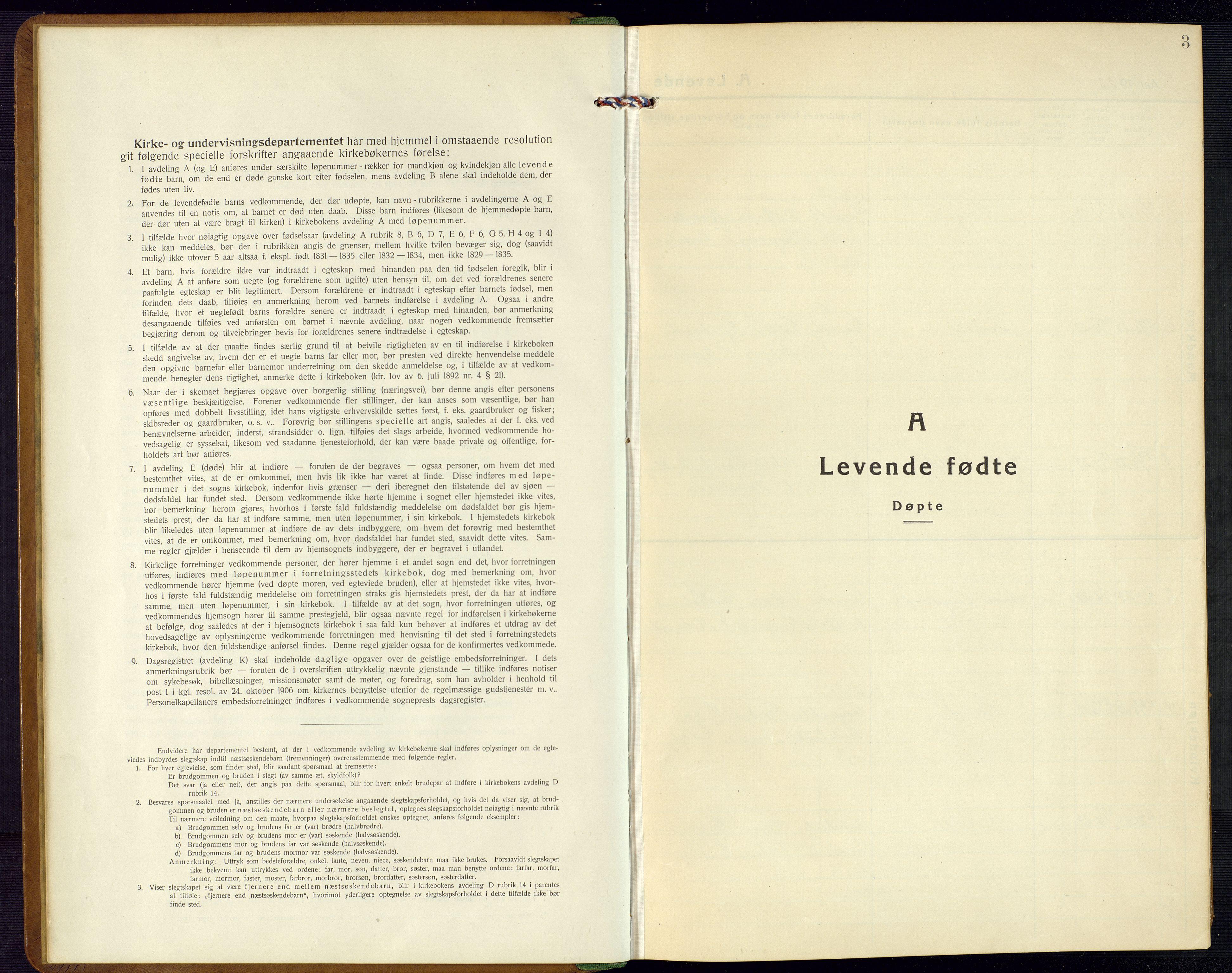 SAK, Bjelland sokneprestkontor, F/Fb/Fba/L0006: Klokkerbok nr. B 6, 1923-1956, s. 3