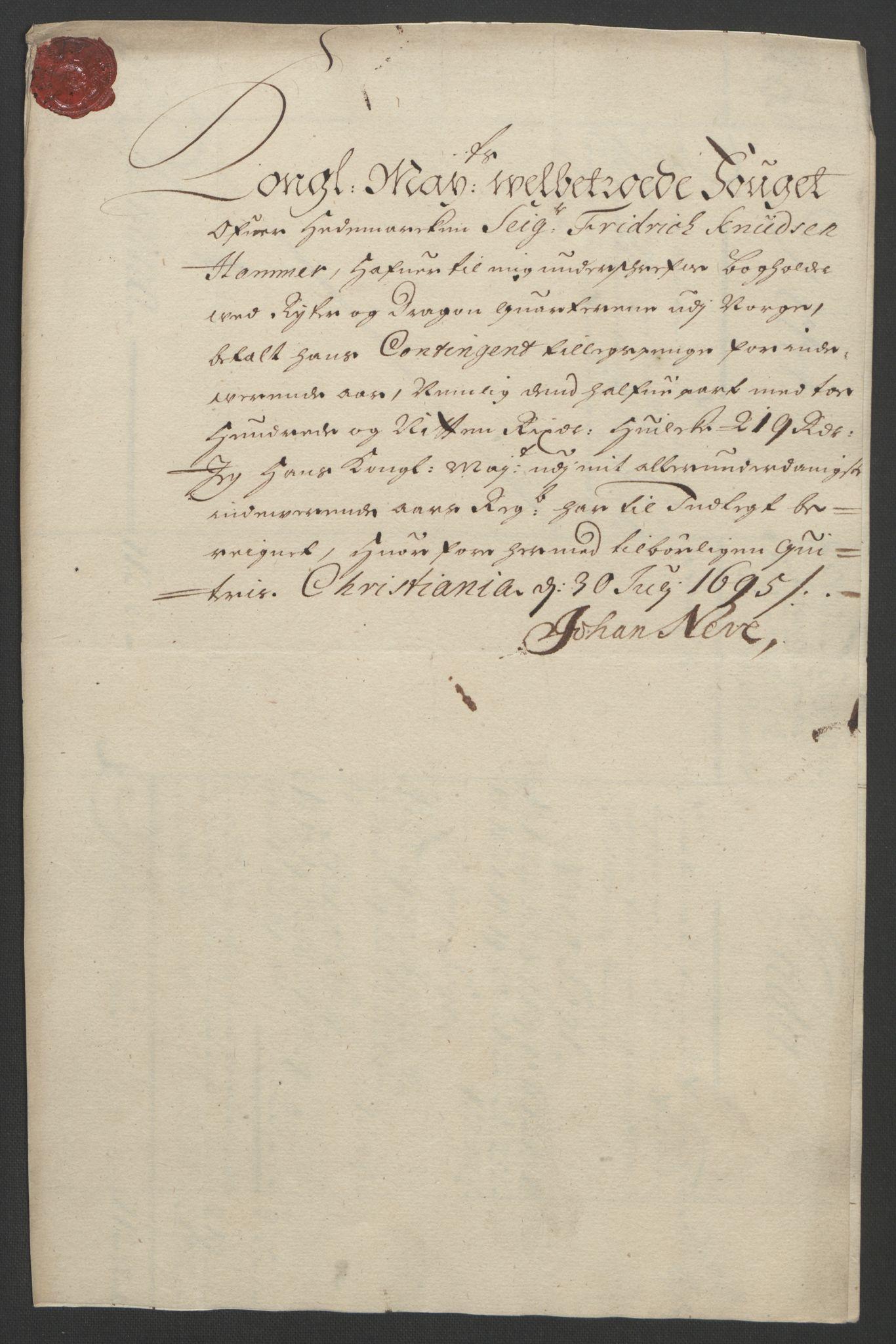 RA, Rentekammeret inntil 1814, Reviderte regnskaper, Fogderegnskap, R16/L1036: Fogderegnskap Hedmark, 1695-1696, s. 136
