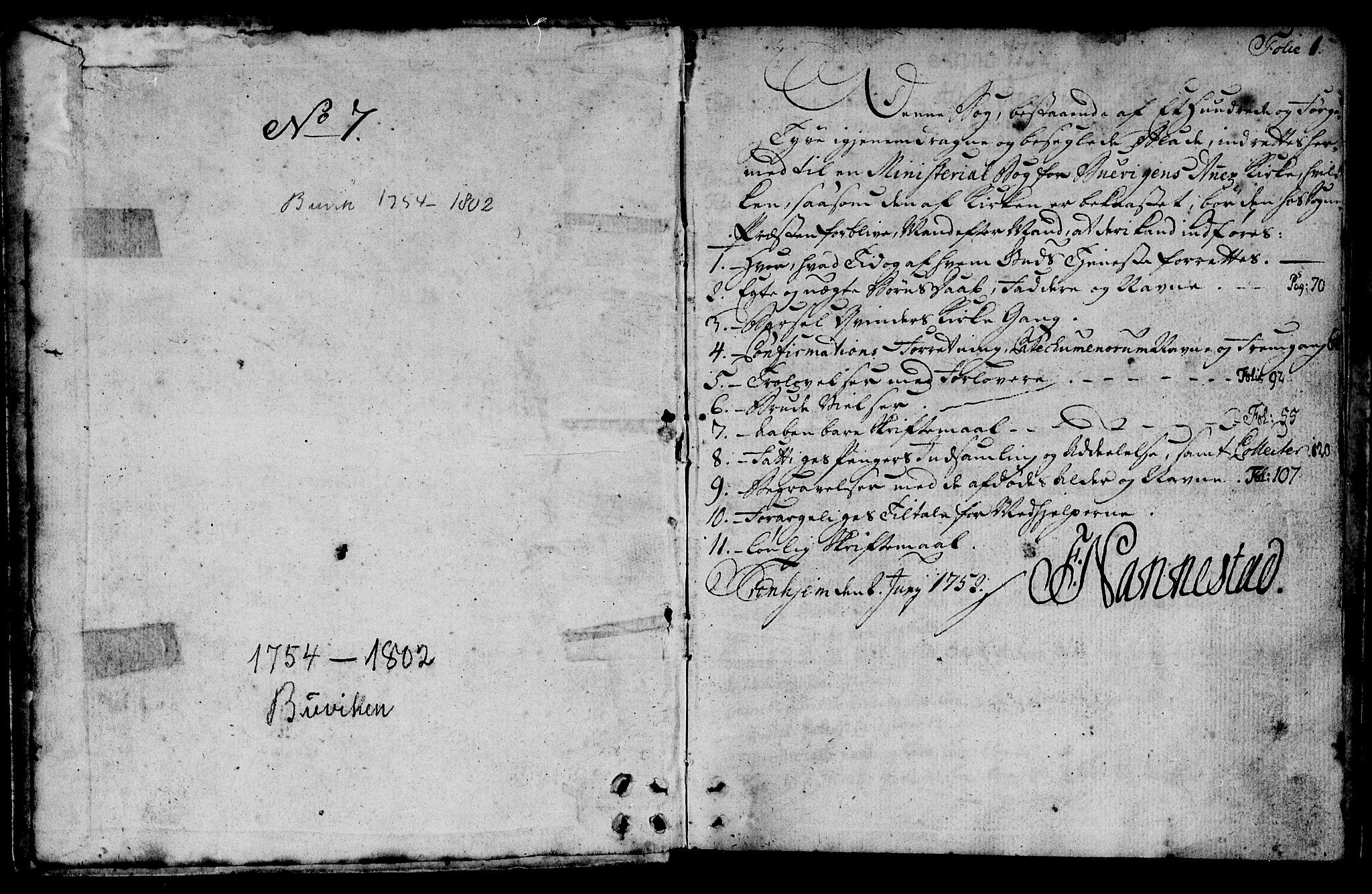 SAT, Ministerialprotokoller, klokkerbøker og fødselsregistre - Sør-Trøndelag, 666/L0784: Ministerialbok nr. 666A02, 1754-1802, s. 1