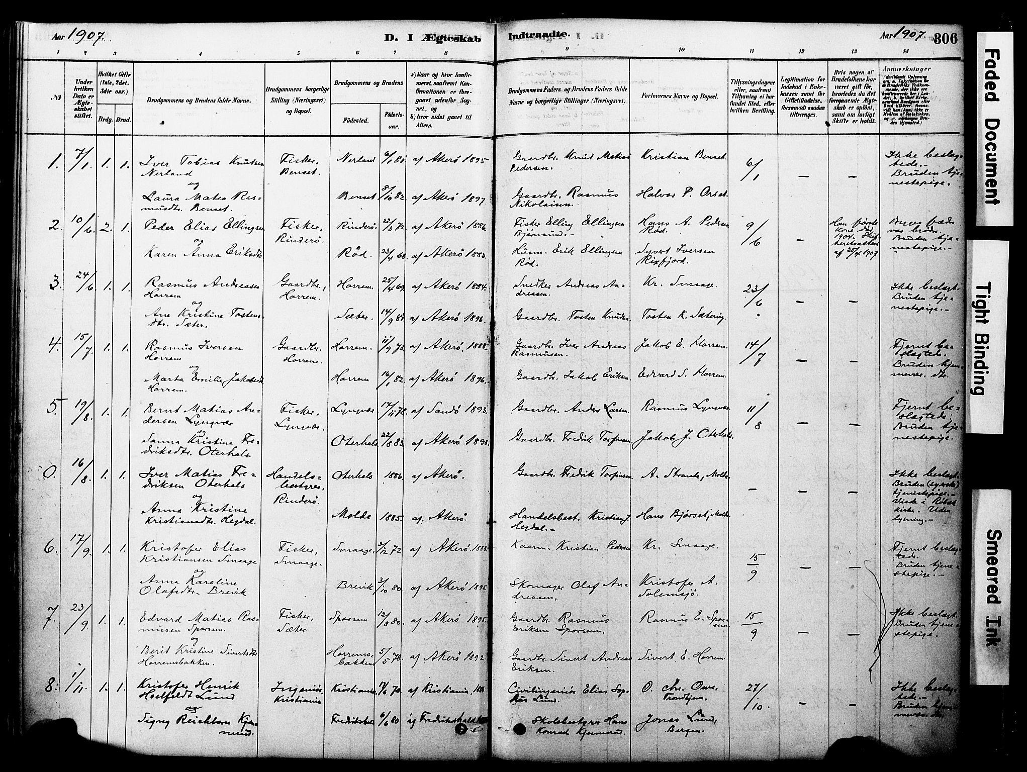 SAT, Ministerialprotokoller, klokkerbøker og fødselsregistre - Møre og Romsdal, 560/L0721: Ministerialbok nr. 560A05, 1878-1917, s. 306