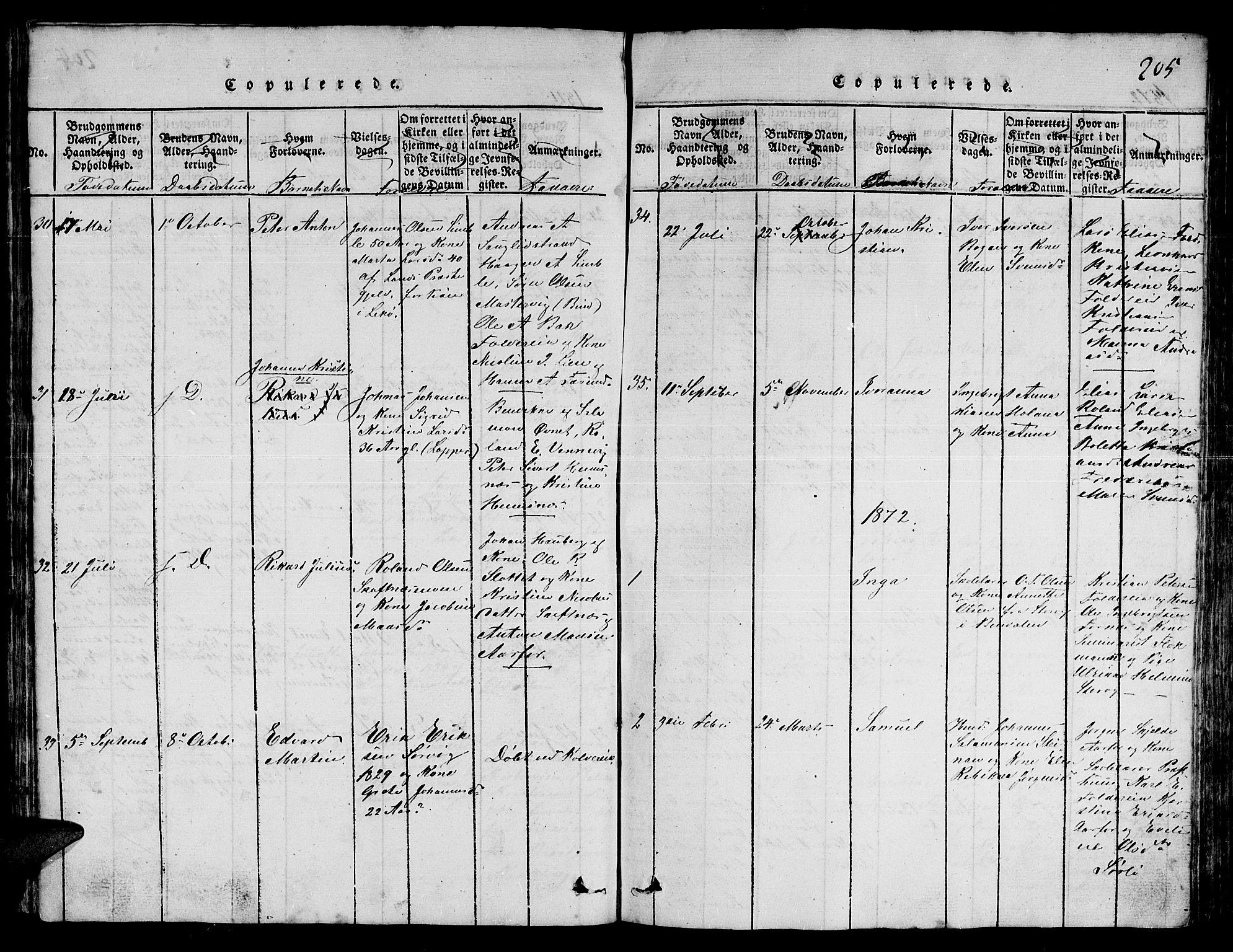 SAT, Ministerialprotokoller, klokkerbøker og fødselsregistre - Nord-Trøndelag, 780/L0648: Klokkerbok nr. 780C01 /3, 1815-1877, s. 205