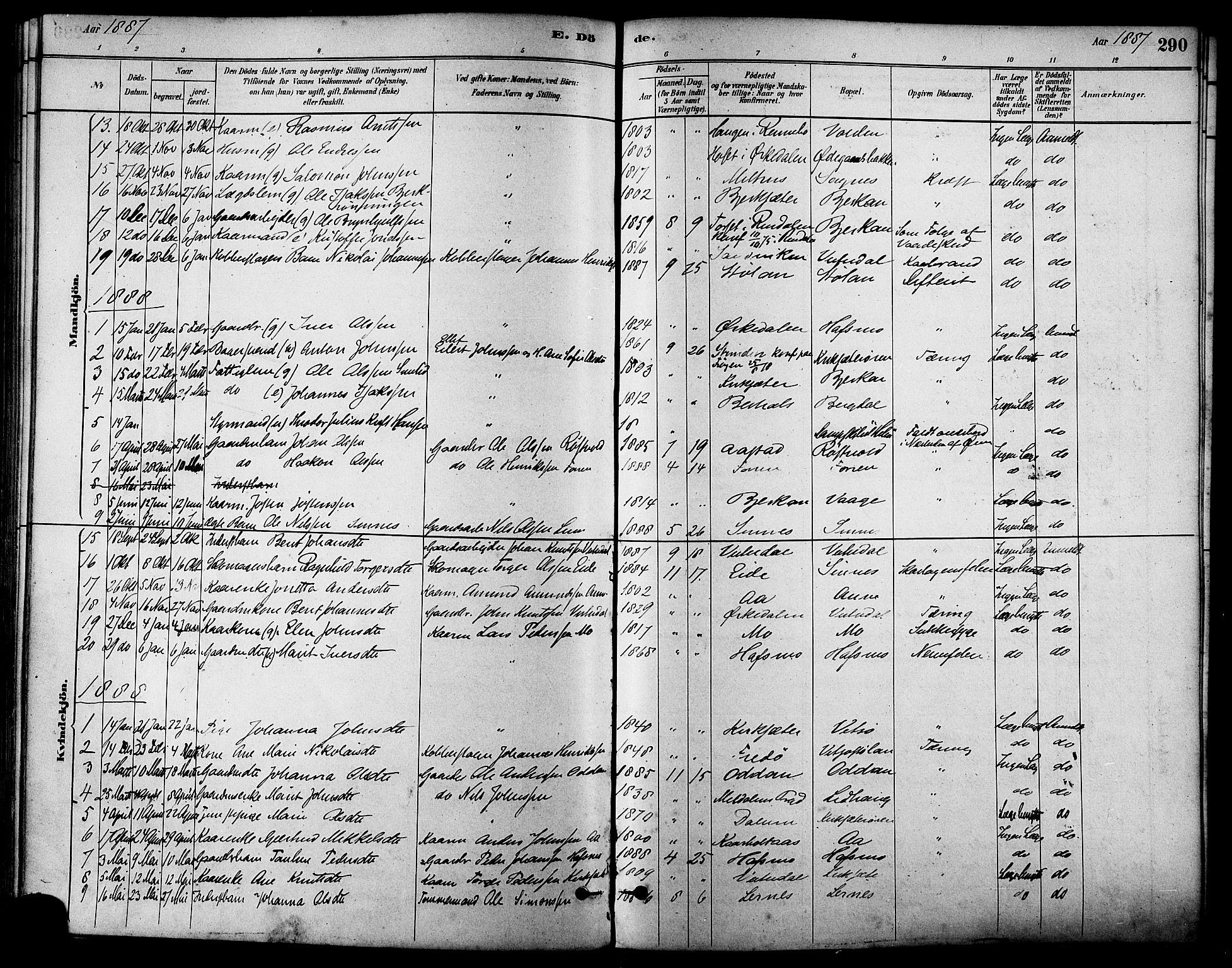 SAT, Ministerialprotokoller, klokkerbøker og fødselsregistre - Sør-Trøndelag, 630/L0496: Ministerialbok nr. 630A09, 1879-1895, s. 290
