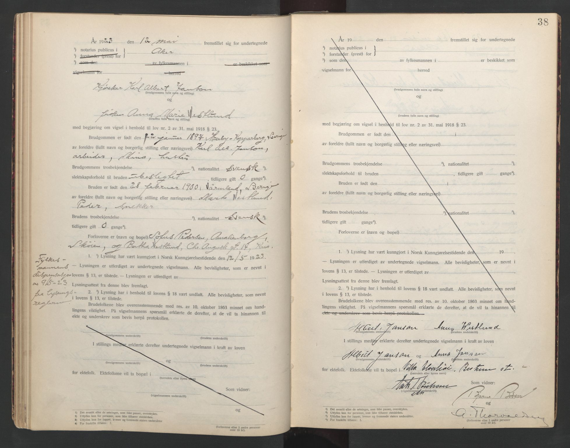 SAO, Aker sorenskriveri, L/Lc/Lcb/L0002: Vigselprotokoll, 1922-1924, s. 38