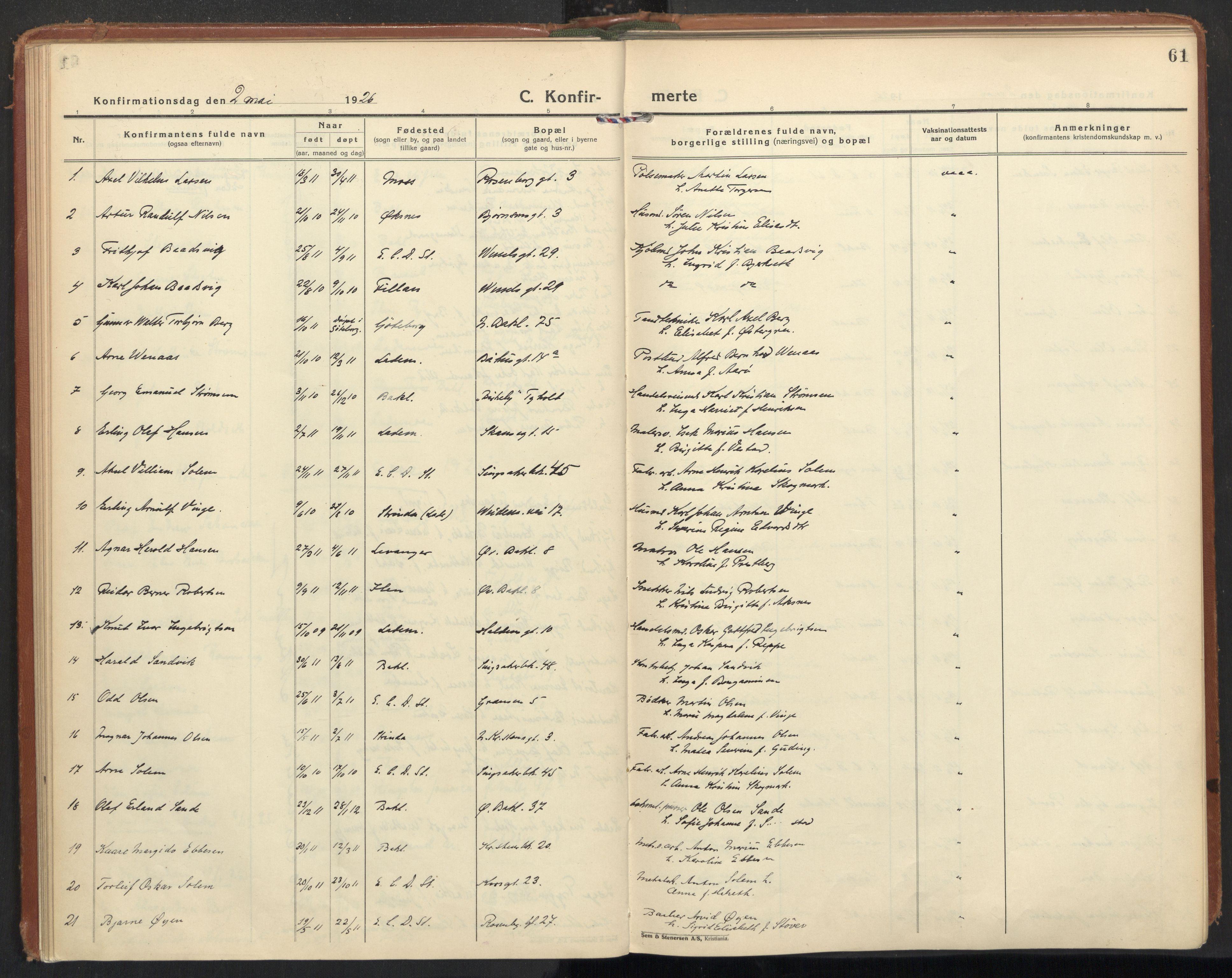 SAT, Ministerialprotokoller, klokkerbøker og fødselsregistre - Sør-Trøndelag, 604/L0208: Ministerialbok nr. 604A28, 1923-1937, s. 61
