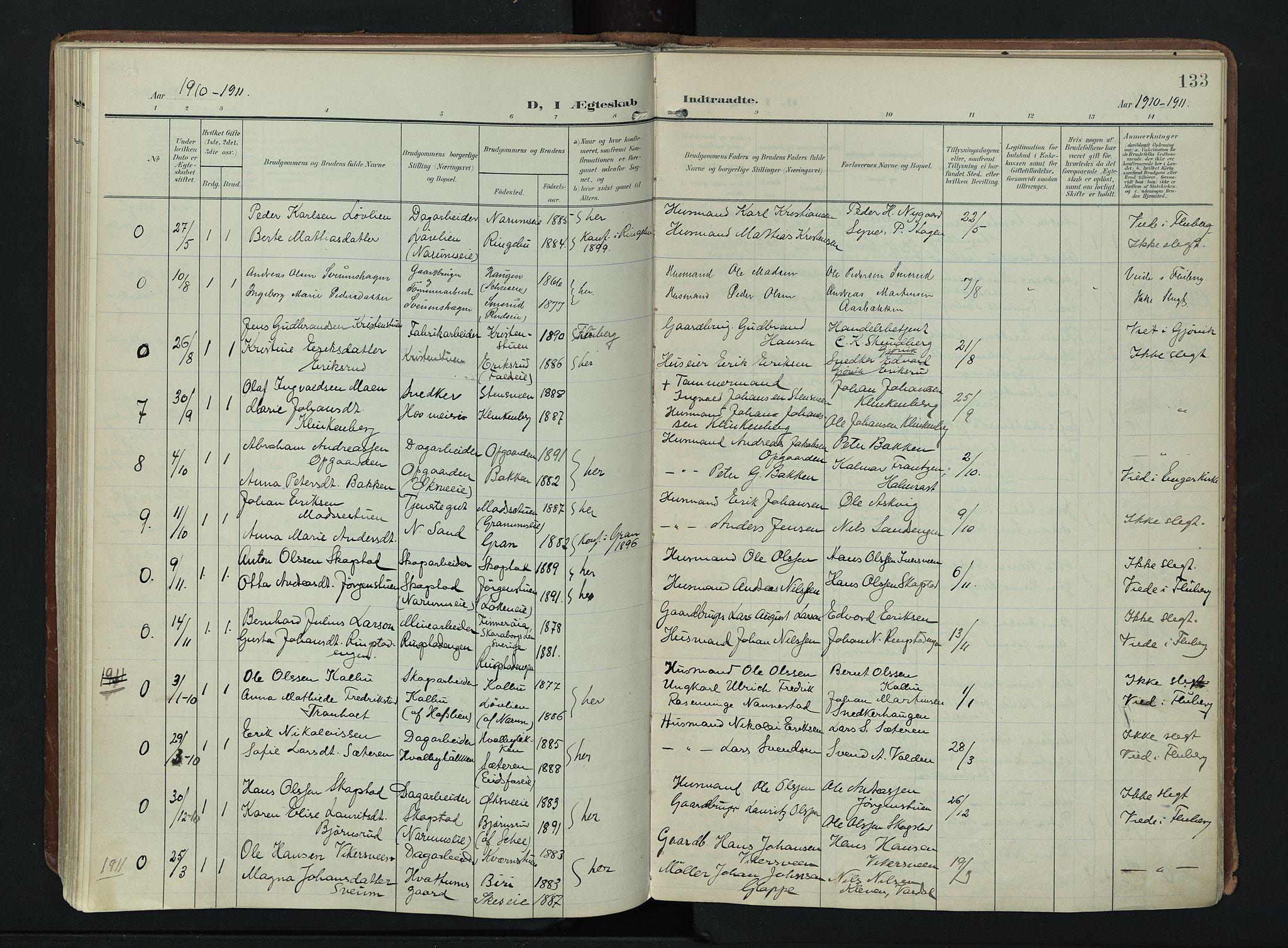 SAH, Søndre Land prestekontor, K/L0007: Ministerialbok nr. 7, 1905-1914, s. 133