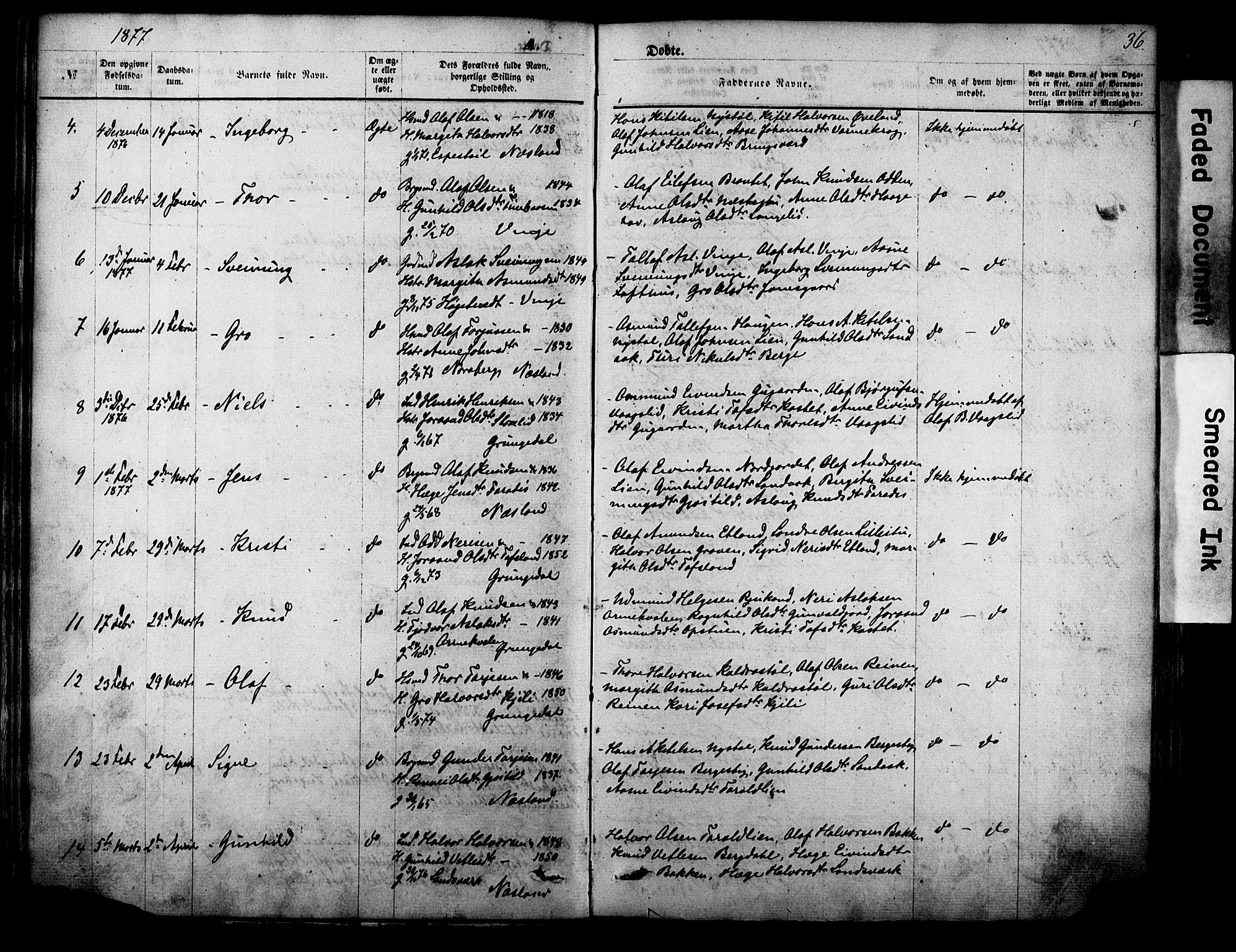 SAKO, Vinje kirkebøker, F/Fa/L0005: Ministerialbok nr. I 5, 1870-1886, s. 36