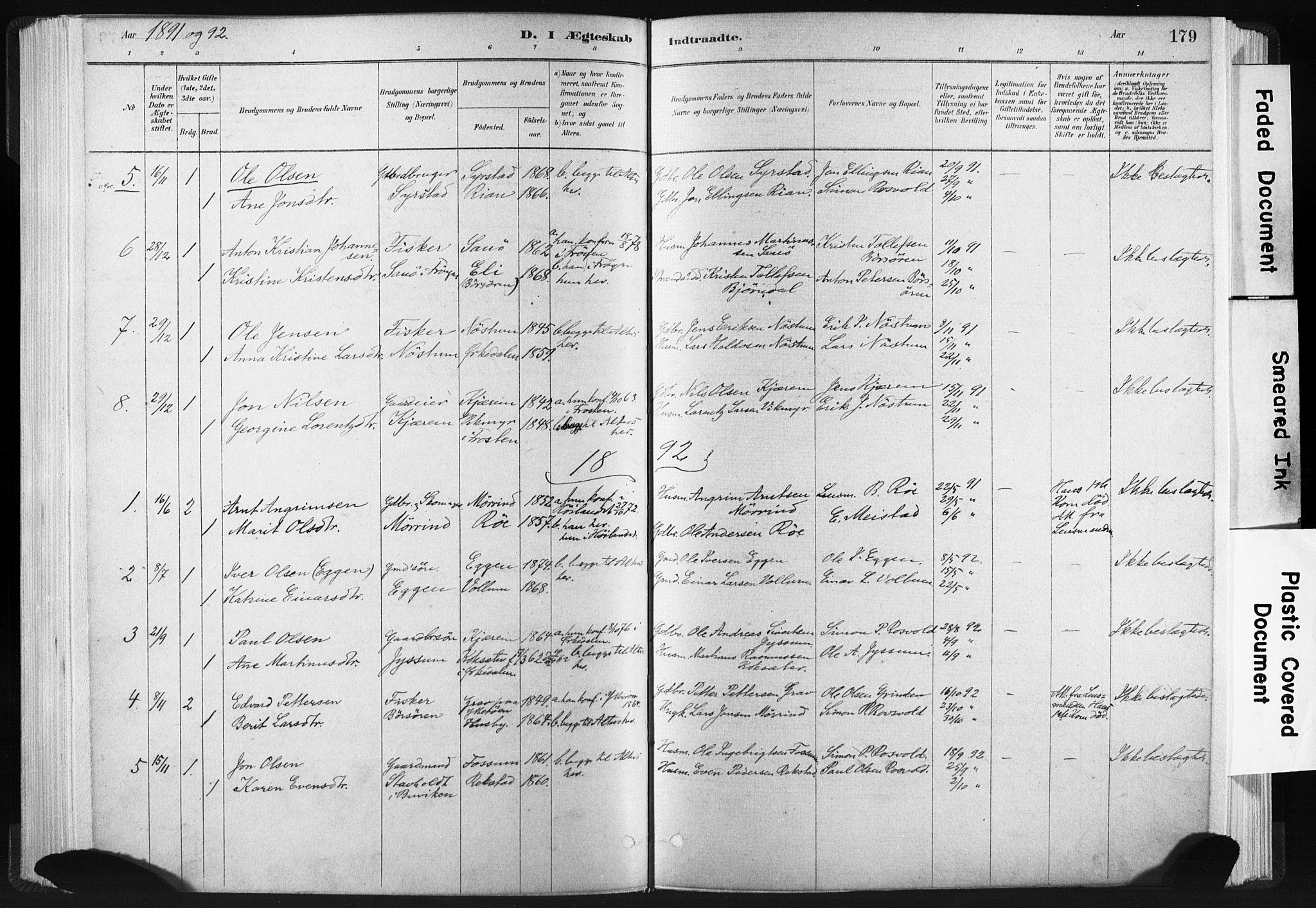 SAT, Ministerialprotokoller, klokkerbøker og fødselsregistre - Sør-Trøndelag, 665/L0773: Ministerialbok nr. 665A08, 1879-1905, s. 179