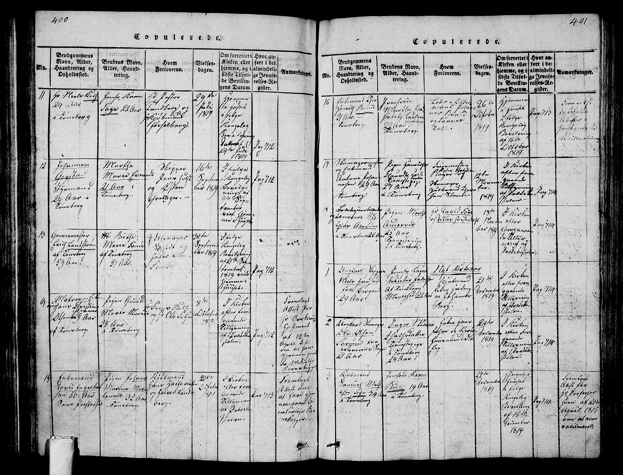 SAKO, Tønsberg kirkebøker, G/Ga/L0001: Klokkerbok nr. 1, 1813-1826, s. 400-401