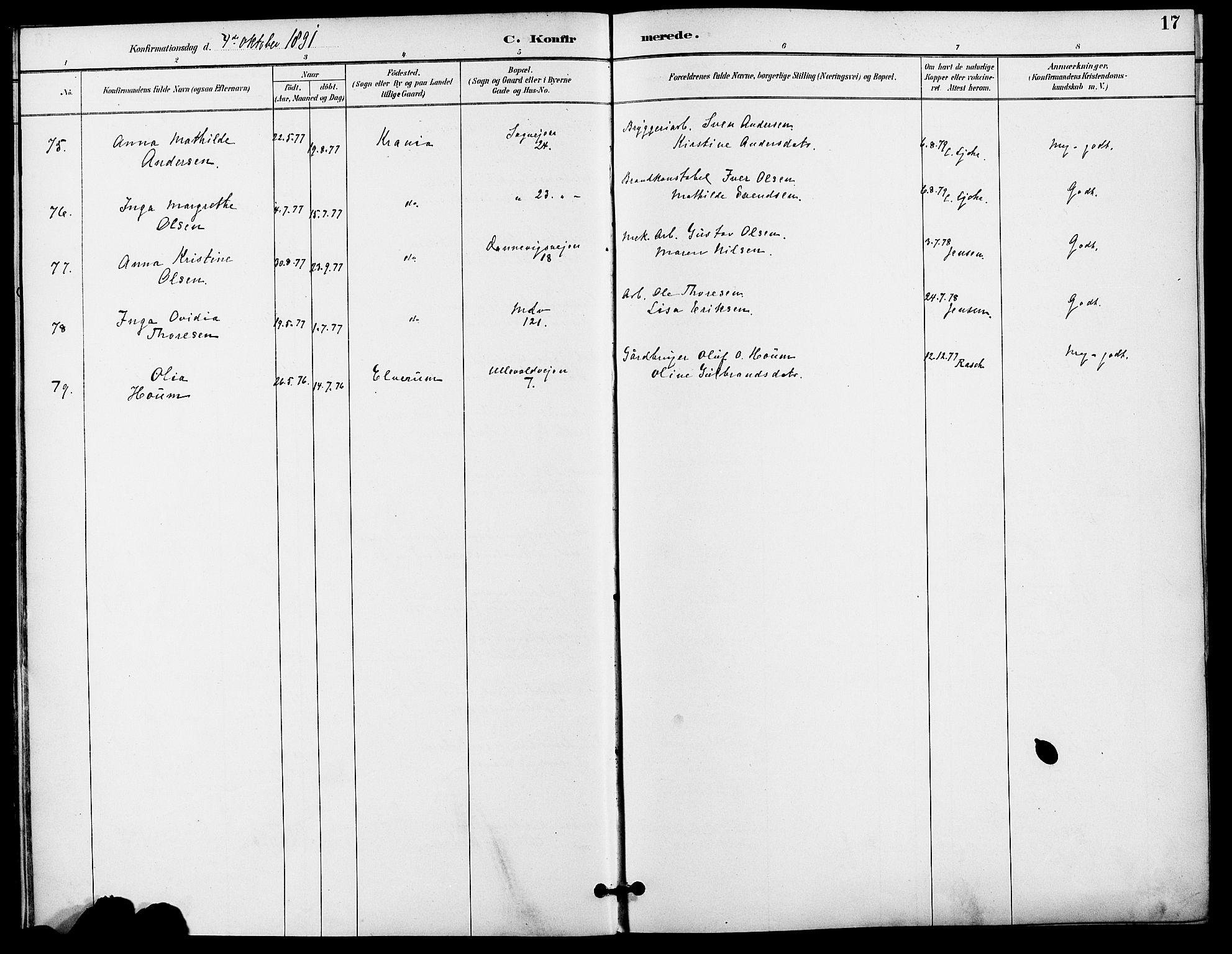 SAO, Gamle Aker prestekontor Kirkebøker, F/L0009: Ministerialbok nr. 9, 1890-1898, s. 17