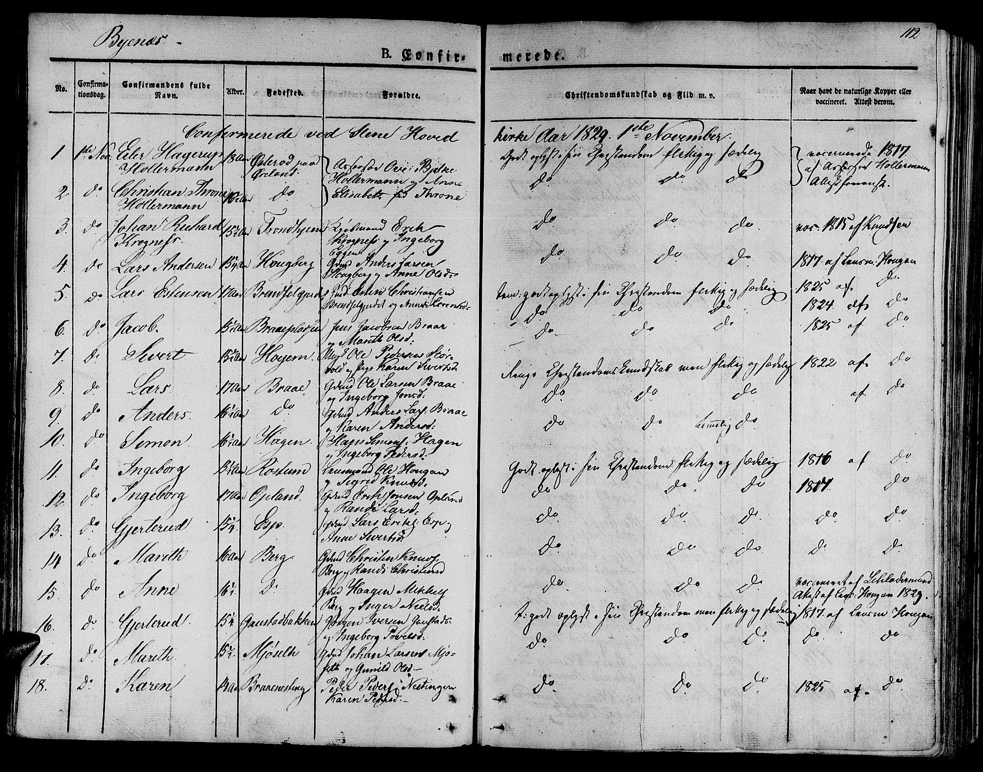 SAT, Ministerialprotokoller, klokkerbøker og fødselsregistre - Sør-Trøndelag, 612/L0374: Ministerialbok nr. 612A07 /1, 1829-1845, s. 112