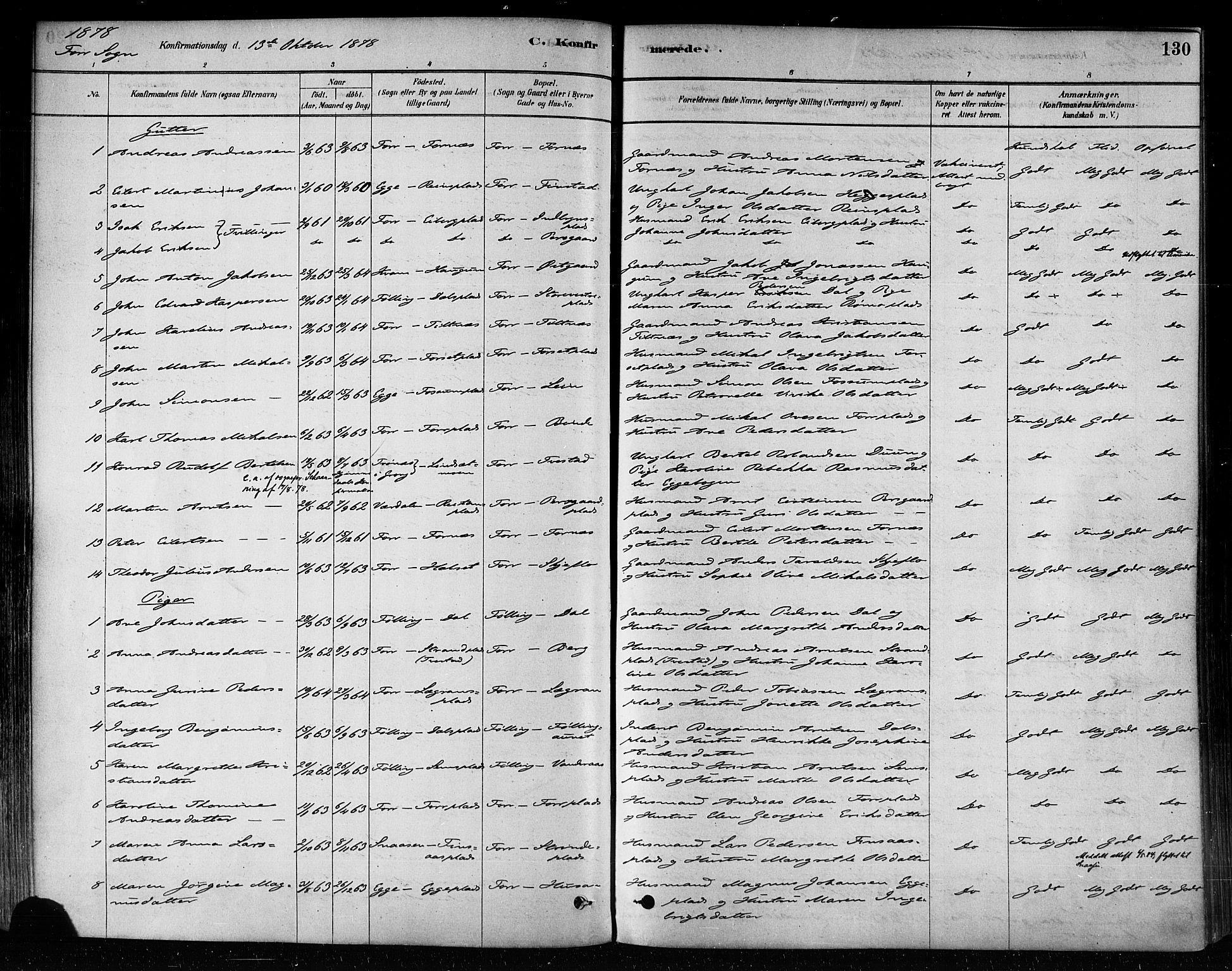 SAT, Ministerialprotokoller, klokkerbøker og fødselsregistre - Nord-Trøndelag, 746/L0448: Ministerialbok nr. 746A07 /1, 1878-1900, s. 130