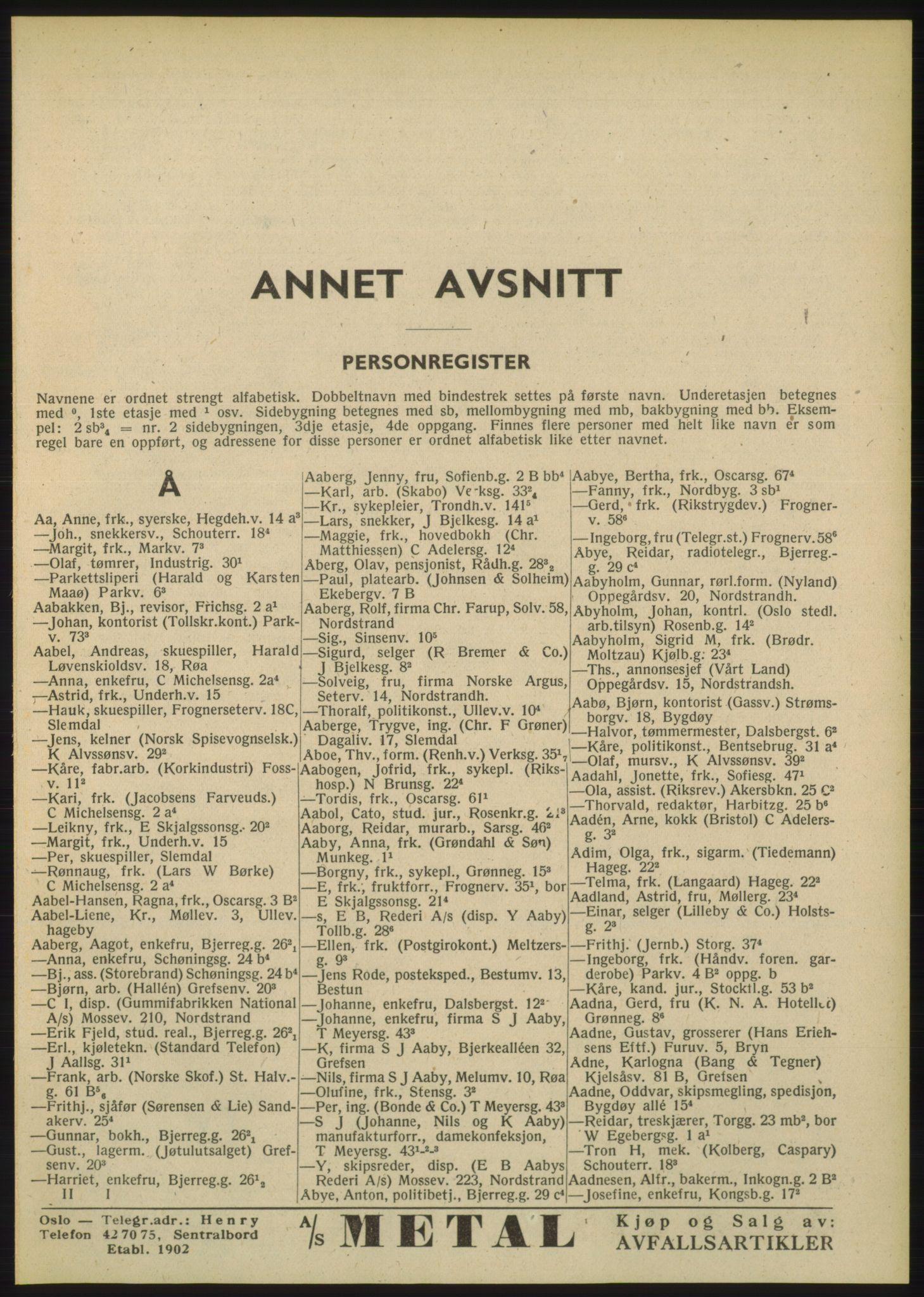 PUBL, Kristiania/Oslo adressebok, 1948, s. 41
