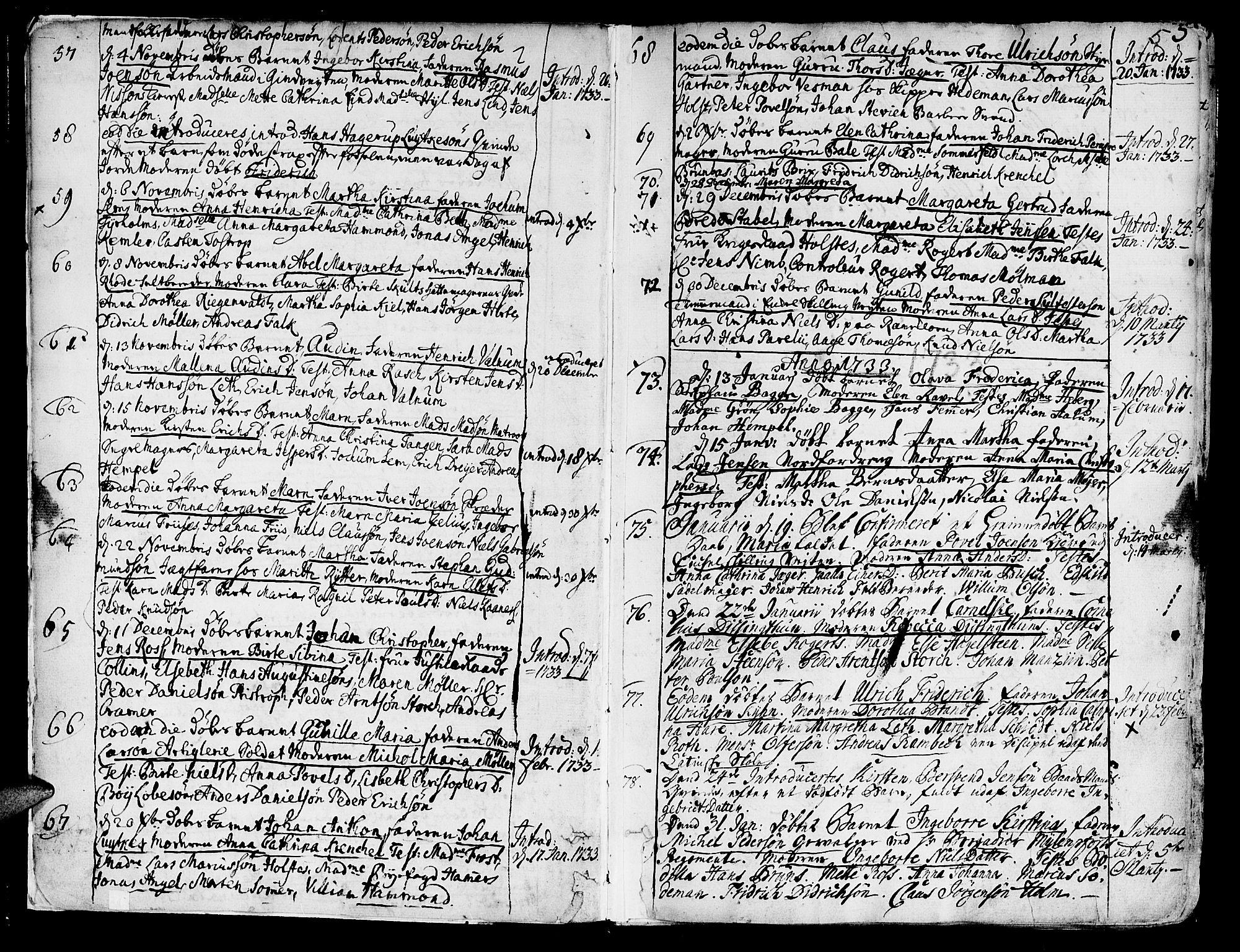 SAT, Ministerialprotokoller, klokkerbøker og fødselsregistre - Sør-Trøndelag, 602/L0103: Ministerialbok nr. 602A01, 1732-1774, s. 5