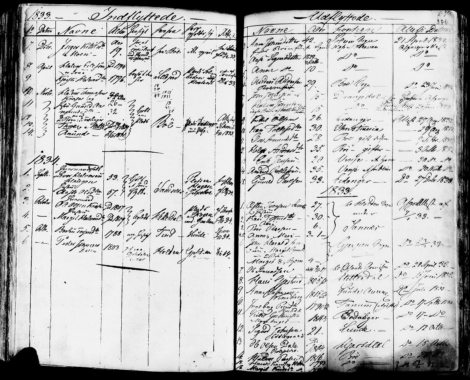 SAKO, Sauherad kirkebøker, F/Fa/L0006: Ministerialbok nr. I 6, 1827-1850, s. 374